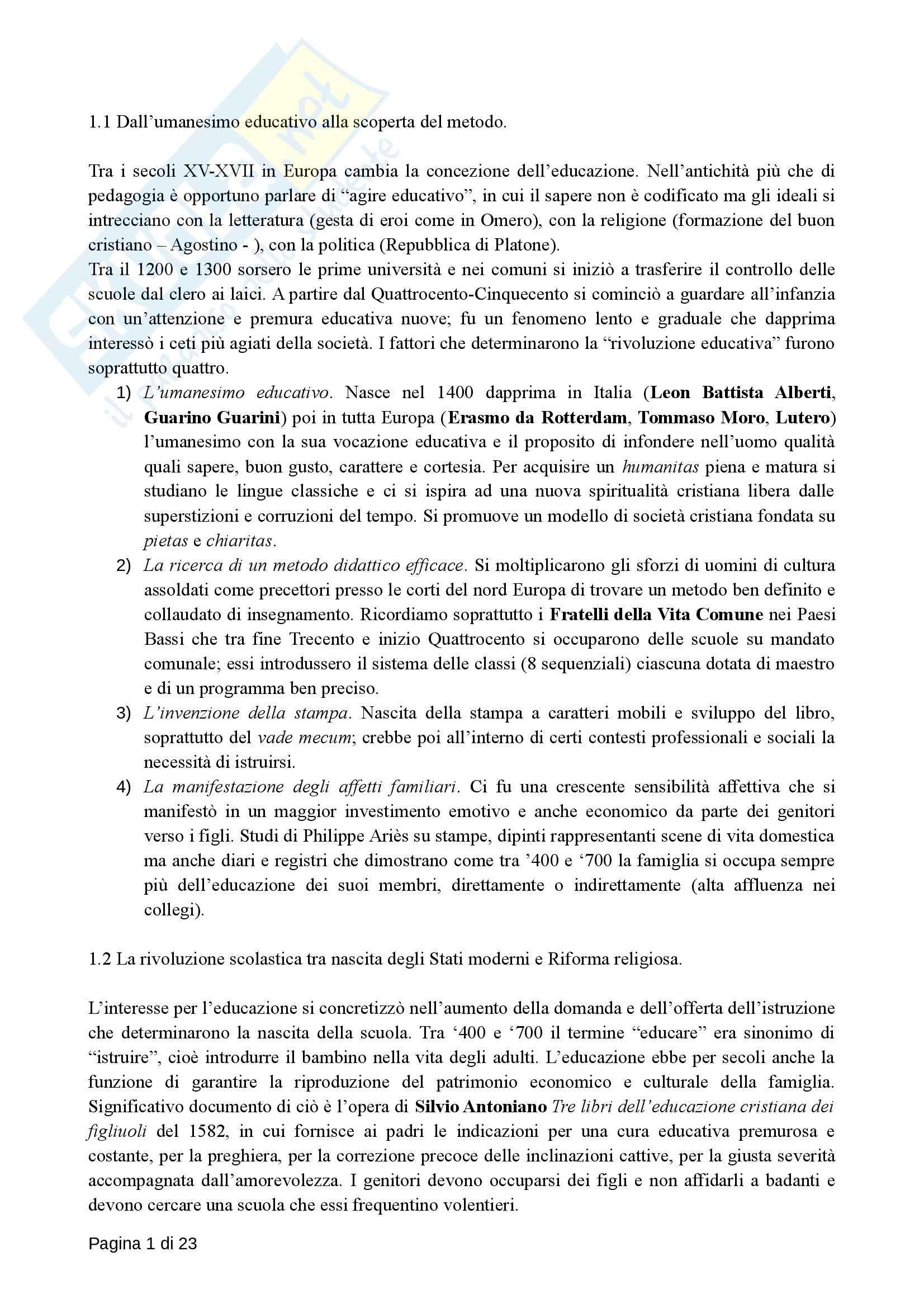 Riassunto esame Storia della Pedagogia, prof. Morandini, libro consigliato L'Educazione nell'Europa Moderna, Chiosso