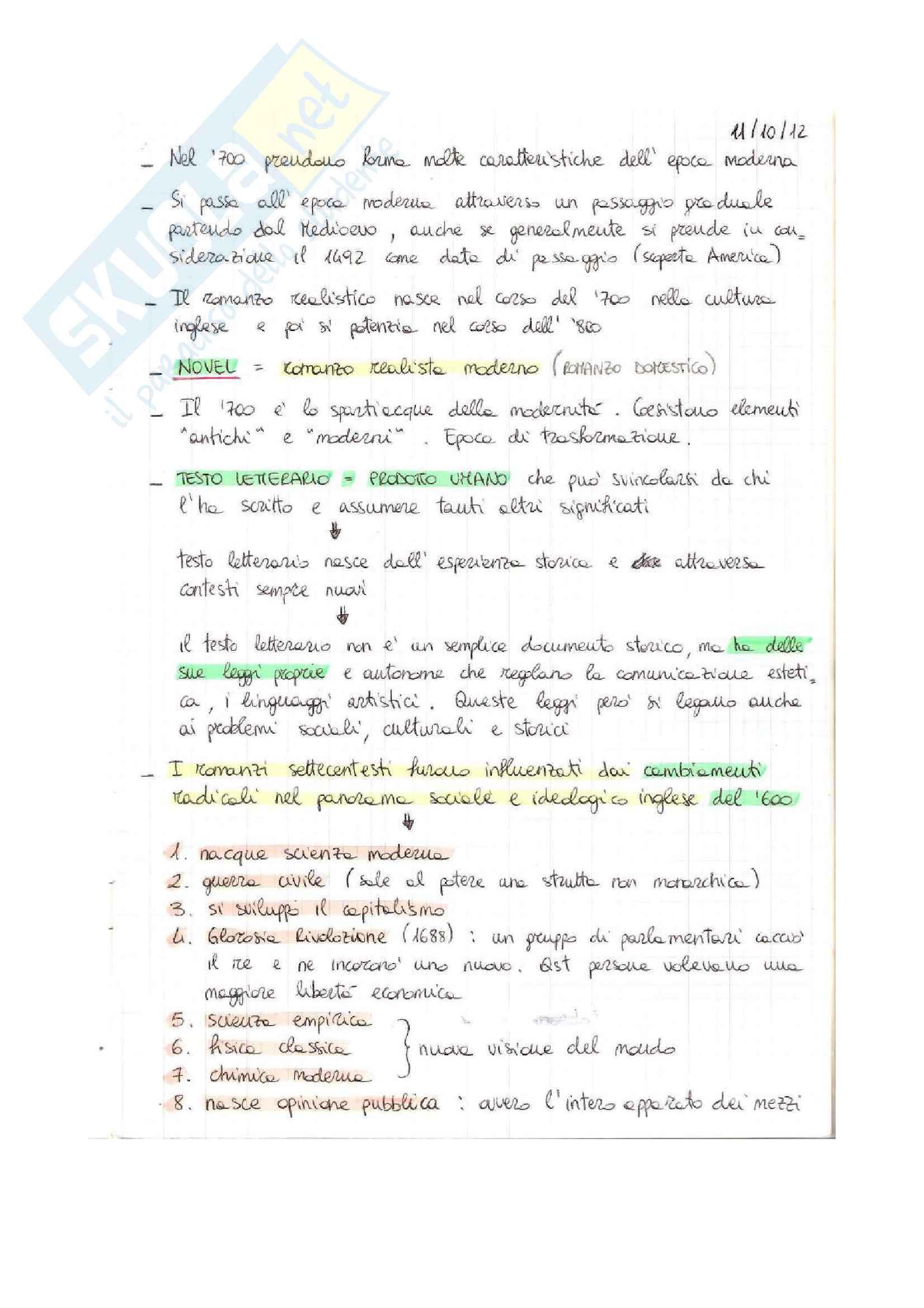 appunto R. Capoferro Letteratura inglese