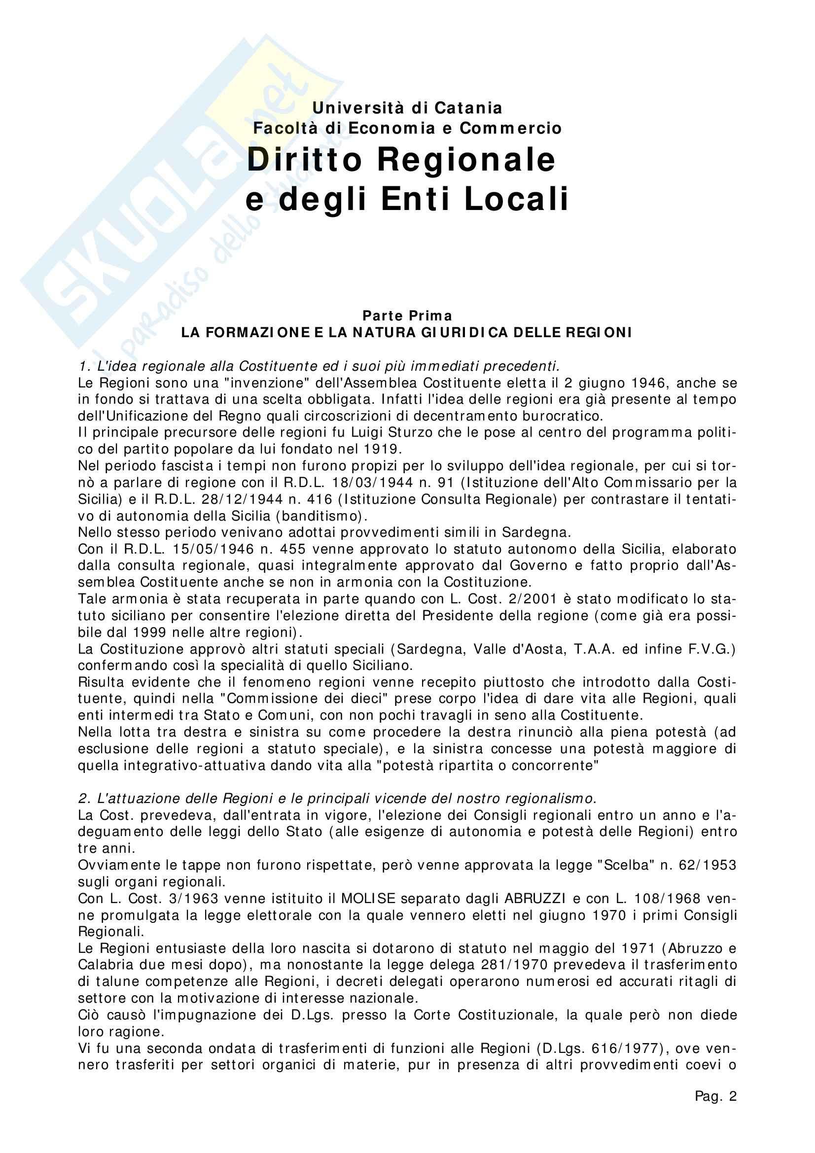 Riassunto esame Diritto Regionale, prof. Chiara, libro consigliato Lineamenti di Diritto regionale, Martines