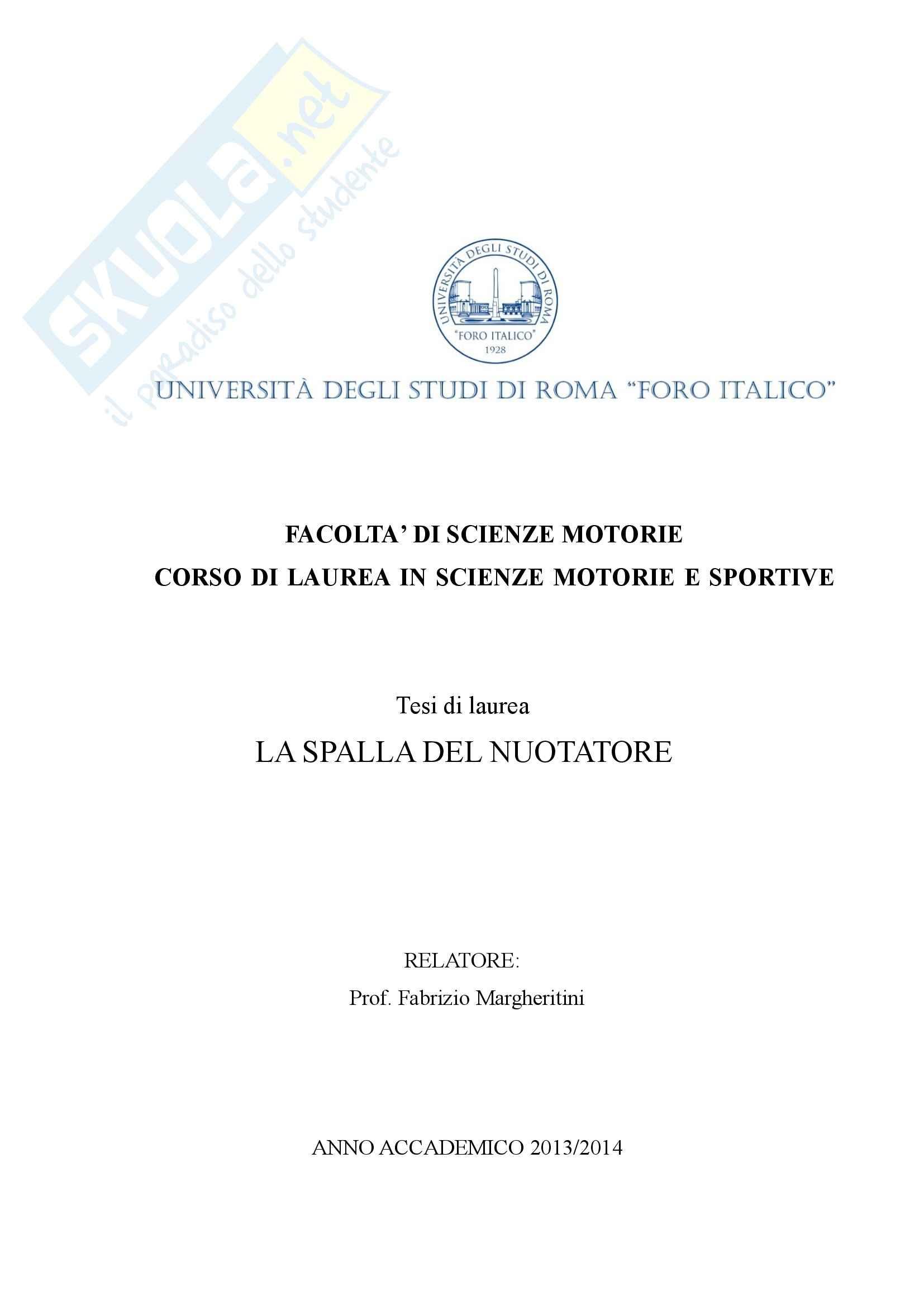 tesi F. Margheritini Scienza e tecnica dello sport