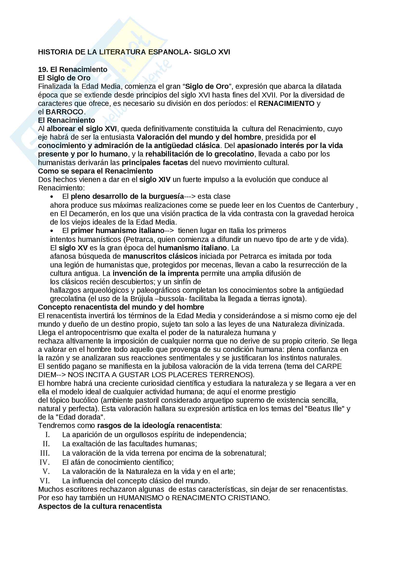 Riassunto esame Letteratura spagnola, prof. Resta, libro consigliato Historia de la literatura Espanola, Vives (siglo XVI)