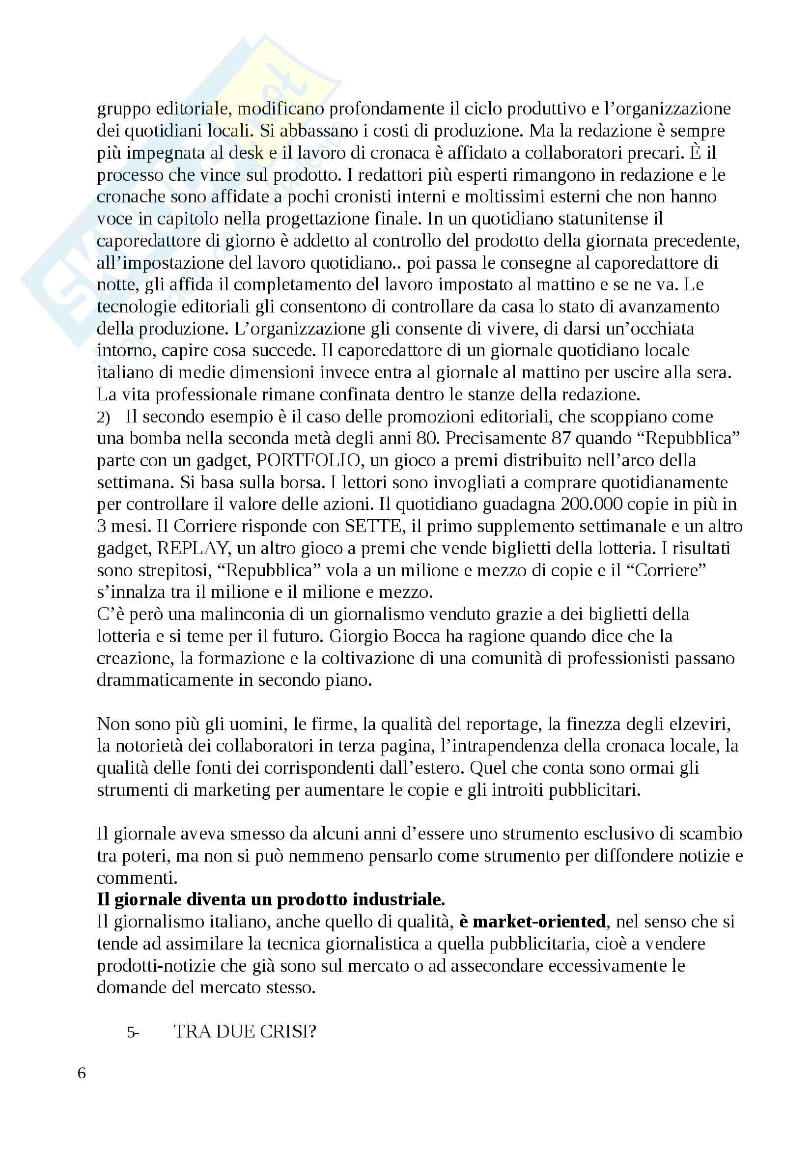 Riassunto esame Teorie e tecniche, prof. Berni, libro consigliato Giornalismi, Agostini Pag. 6