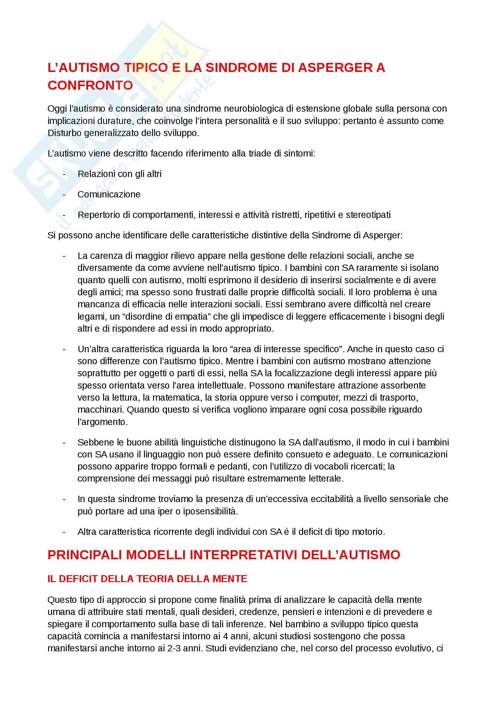 Riassunto esame Psicologia dell'educazione, prof. Cottini, libro consigliato L'autismo a scuola