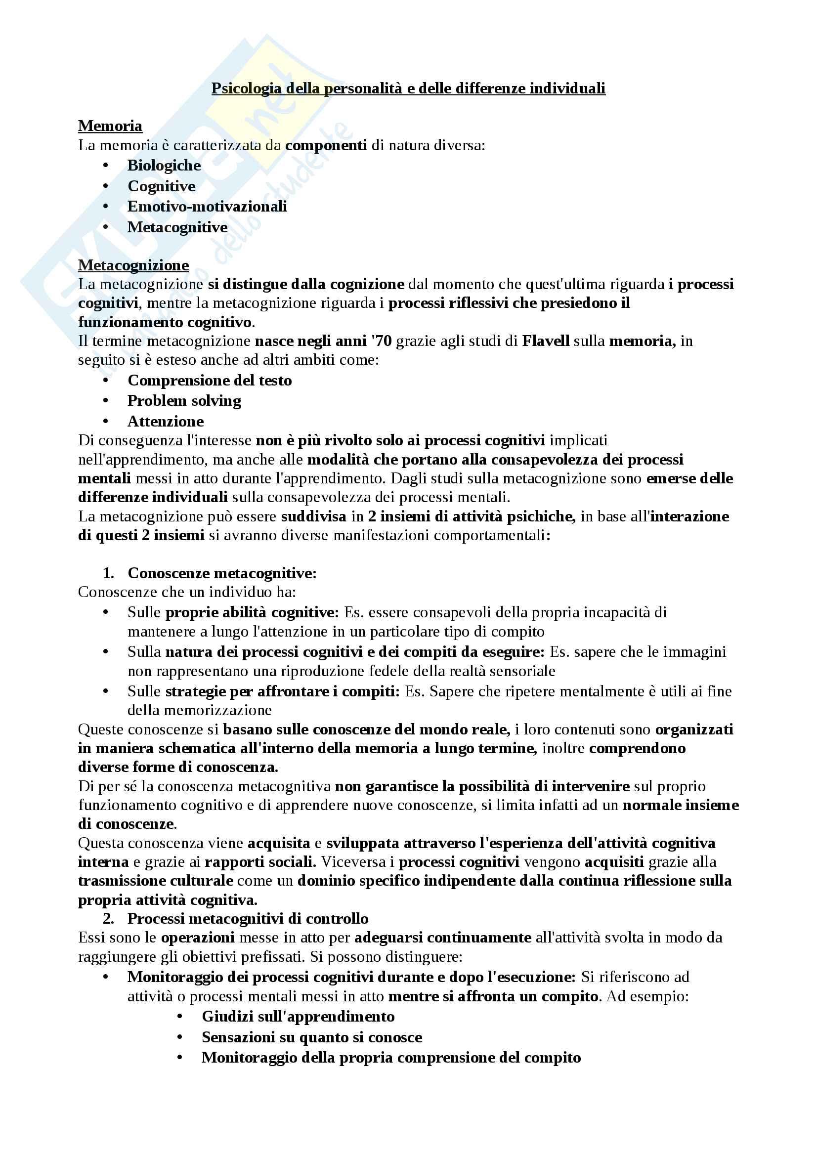 Riassunto esame Psicologia della personalità e delle differenze individuali della sezione metacognizione, docente Elena Cavallini