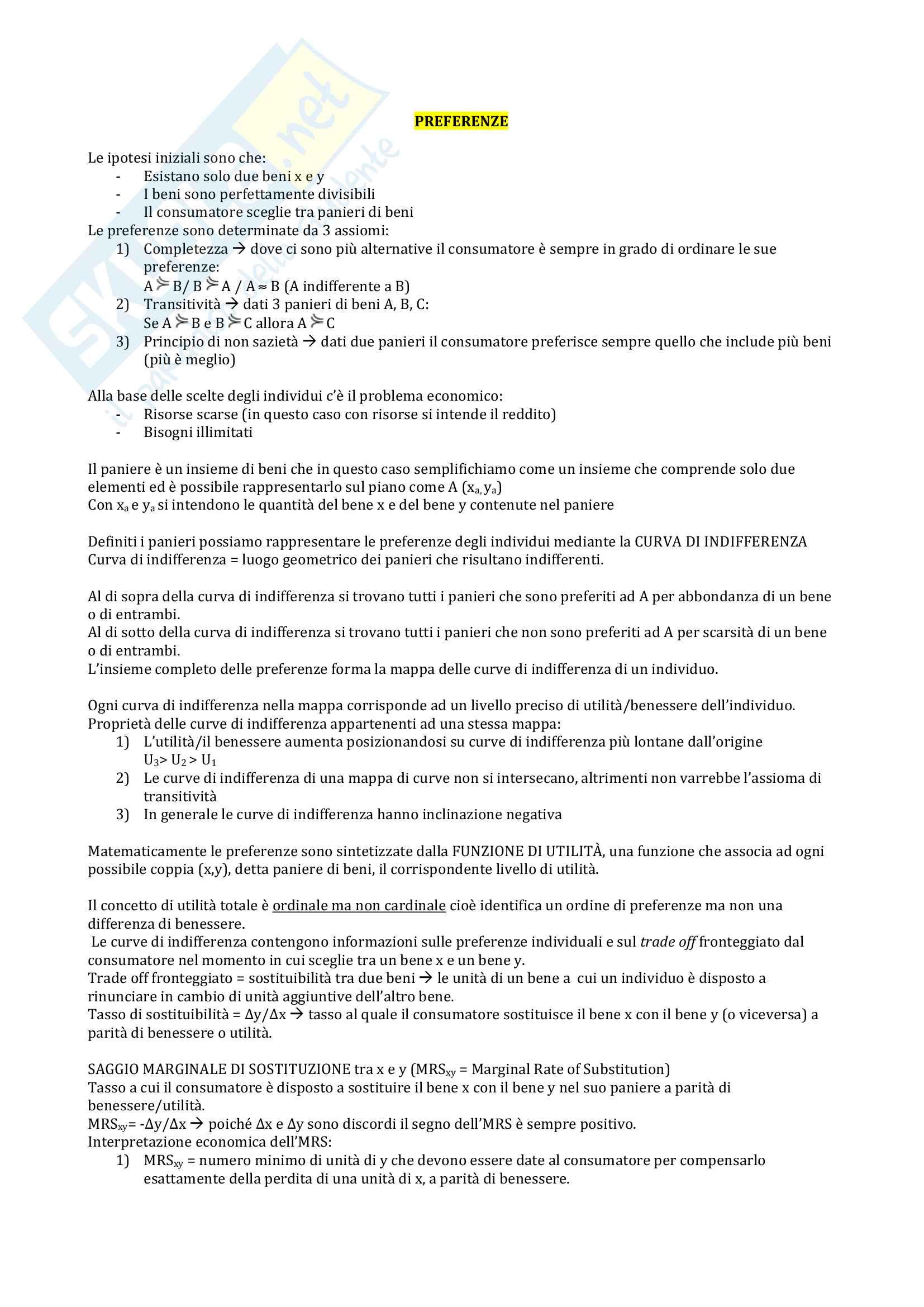 Esame di microeconomia Bocconi - Appunti sulle Preferenze