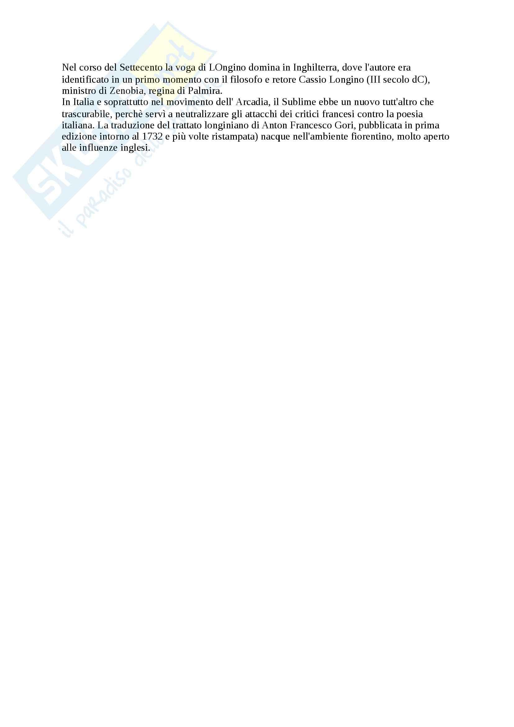 Riassunto esame Filologia classica, testo consigliato Il sublime, fortuna di un testo e di un'idea, Matelli, prof. Ronchey Pag. 11