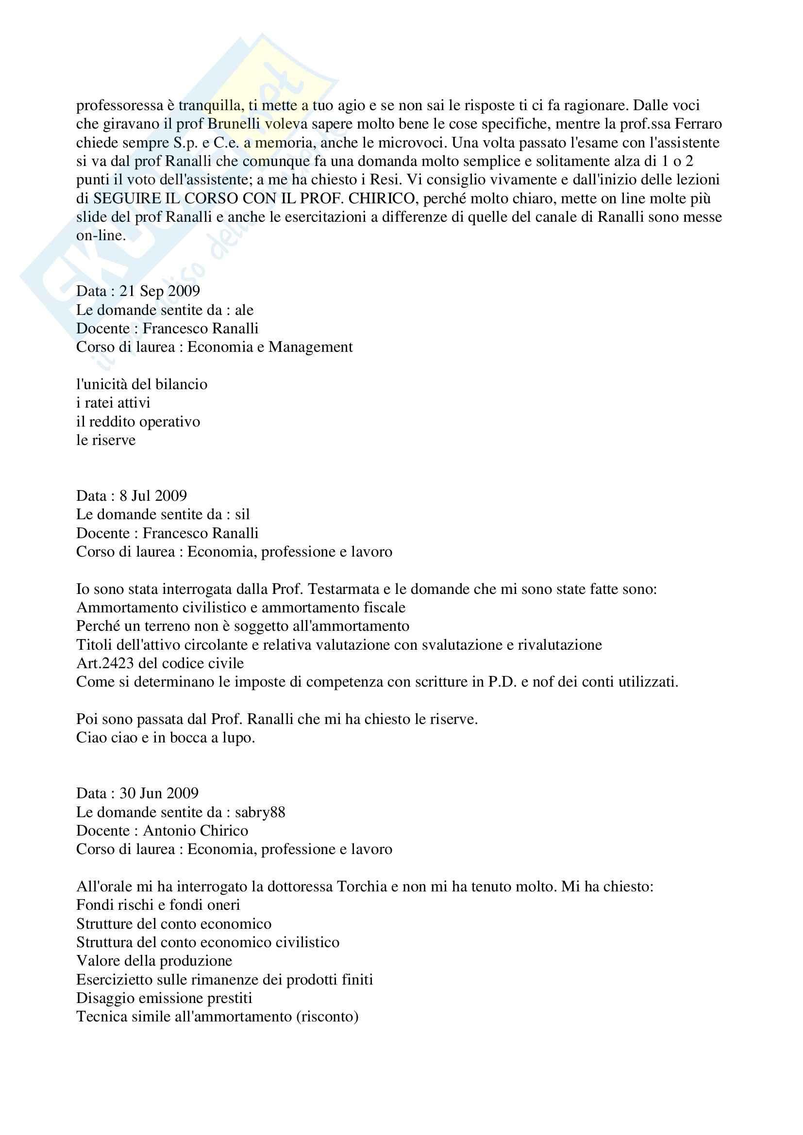 Ragioneria - Domande Pag. 6