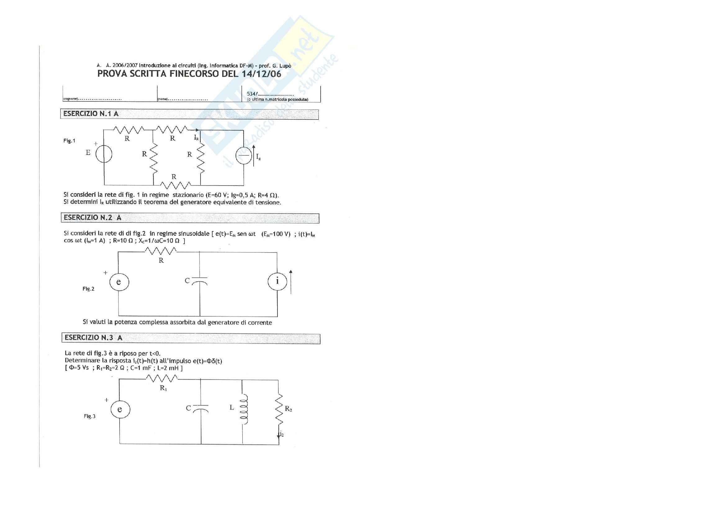 Introduzione ai circuiti - Esercitazione