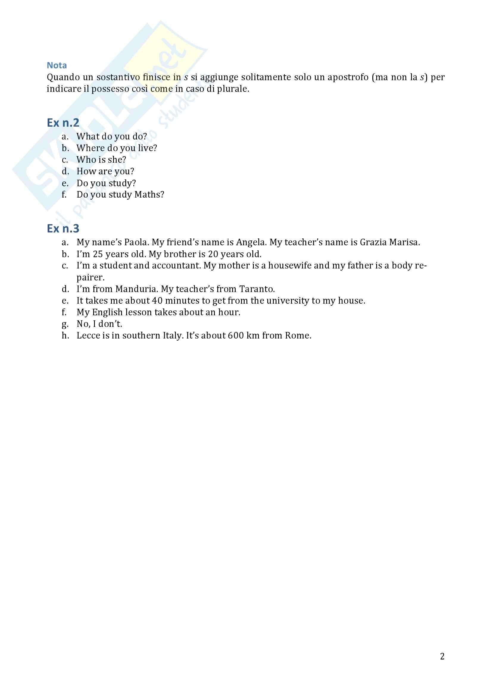 Traduzione ed esercizi svolti, Lingua inglese Pag. 2