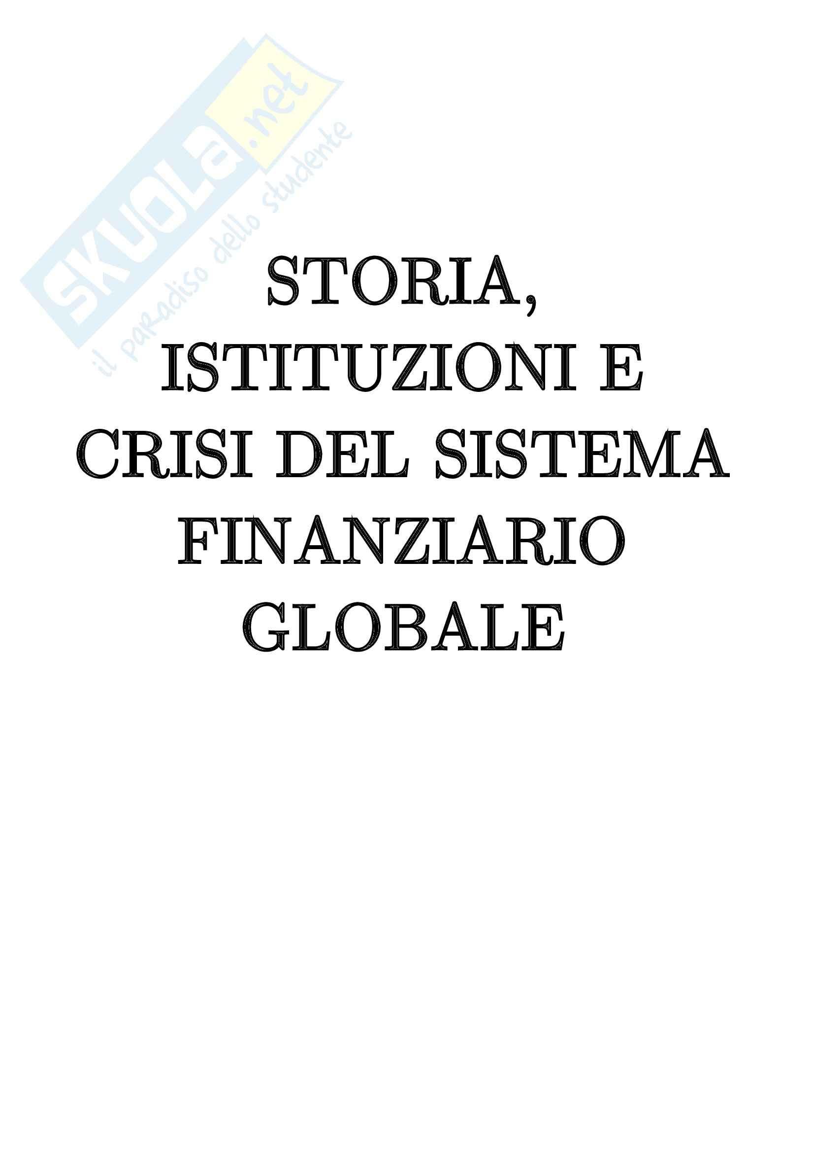 Storia, istituzioni e crisi del sistema finanziario globale - Appunti