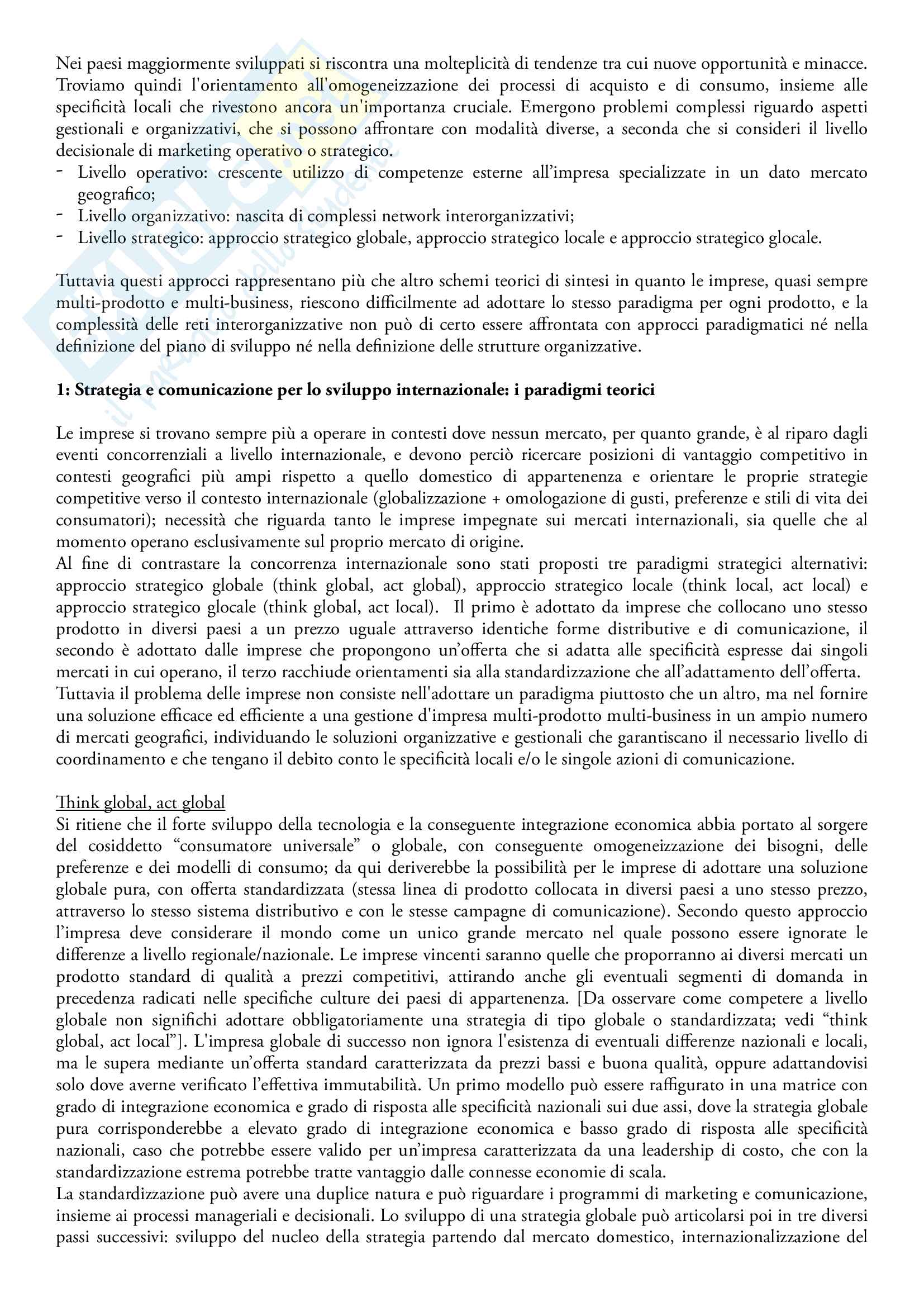 Riassunto esame Comunicazione internazionale, prof. Linda Gabbianelli, libro consigliato La comunicazione internazionale di marketing, A. Di Gregorio