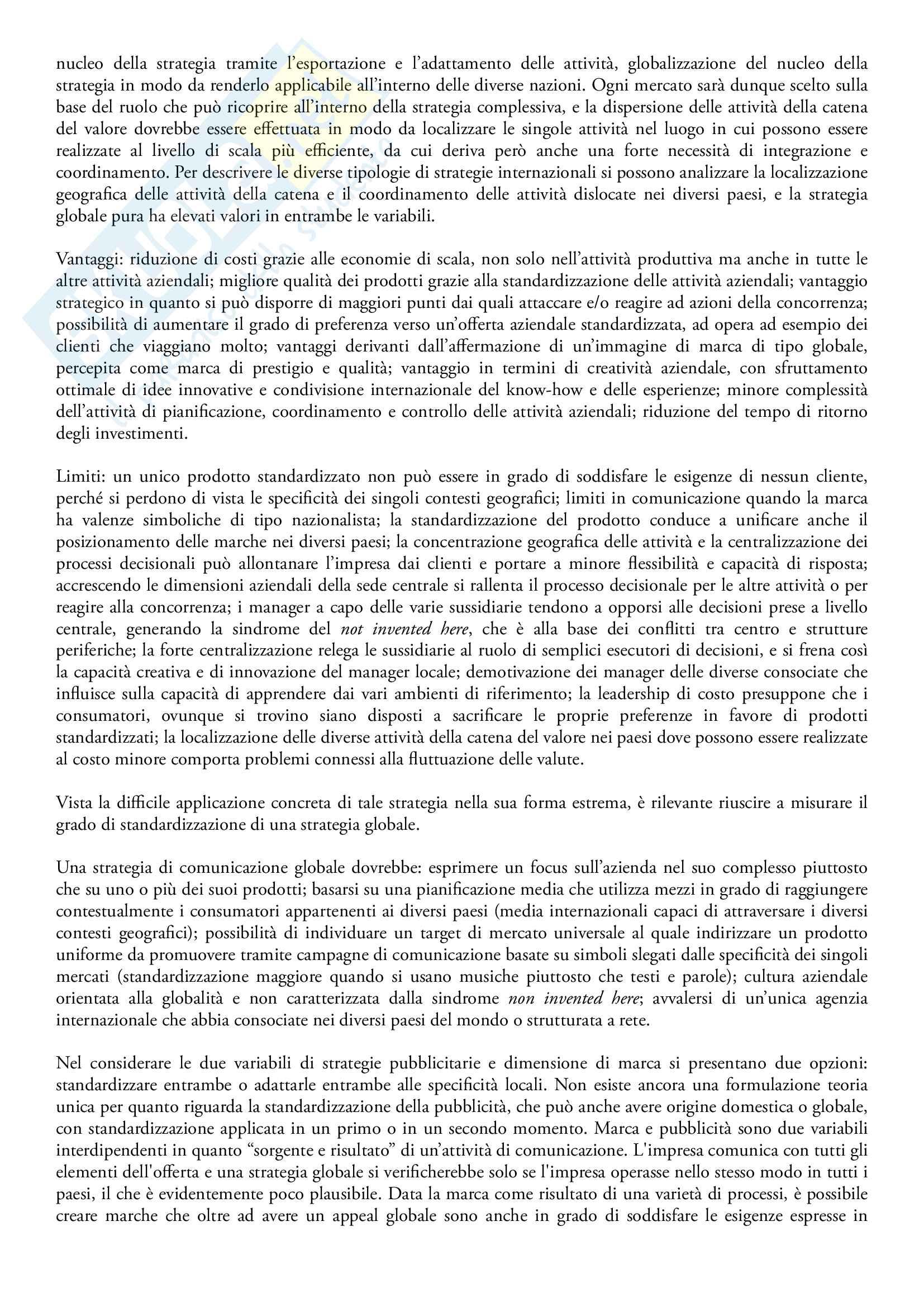 Riassunto esame Comunicazione internazionale, prof. Linda Gabbianelli, libro consigliato La comunicazione internazionale di marketing, A. Di Gregorio Pag. 2
