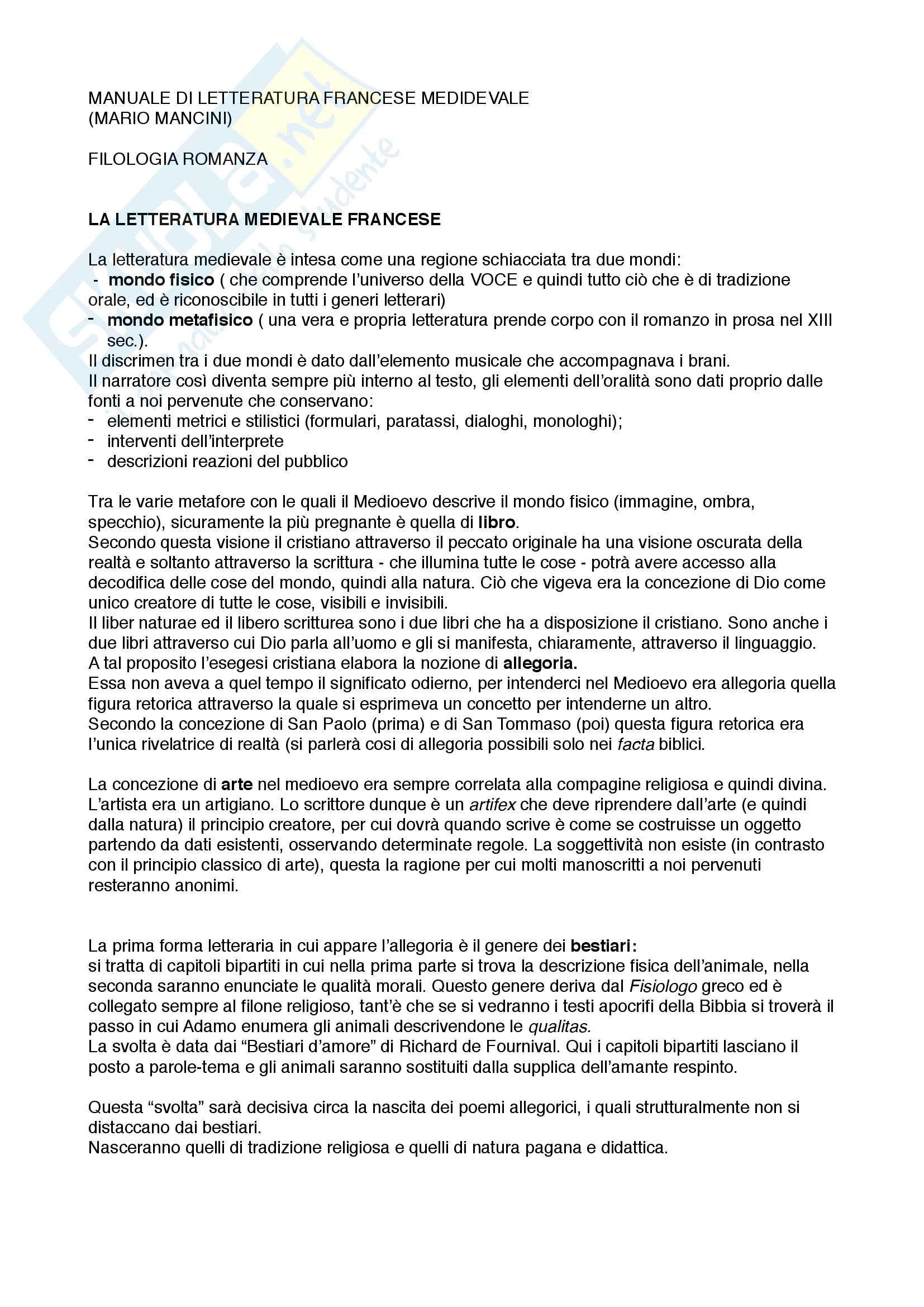 Riassunto esame filologia romanza, prof. Punzi libro consigliato Manuale di letteratura francese medievale, Mancini