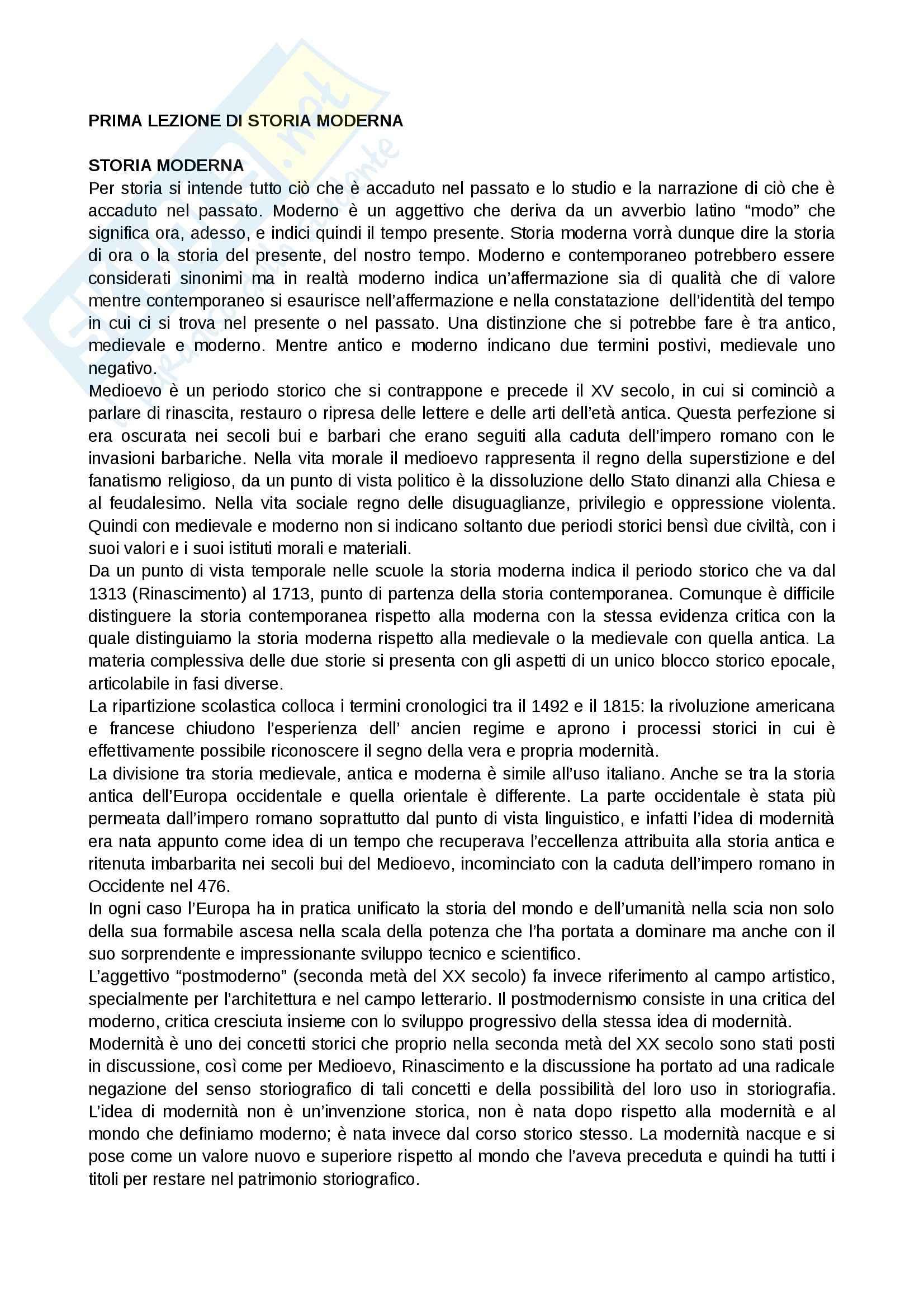 Riassunto esame storia moderna, prof. Salvemini, libro consigliato Prima lezione di storia moderna, Galasso