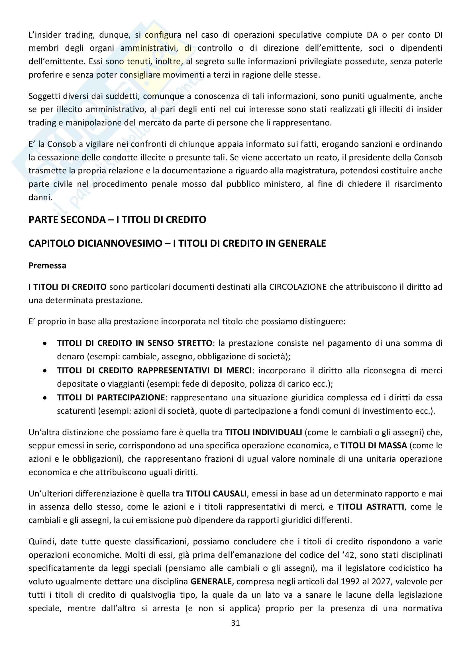 Riassunto esame Diritto Commerciale, prof. Griffi, libro consigliato Campobasso Pag. 31