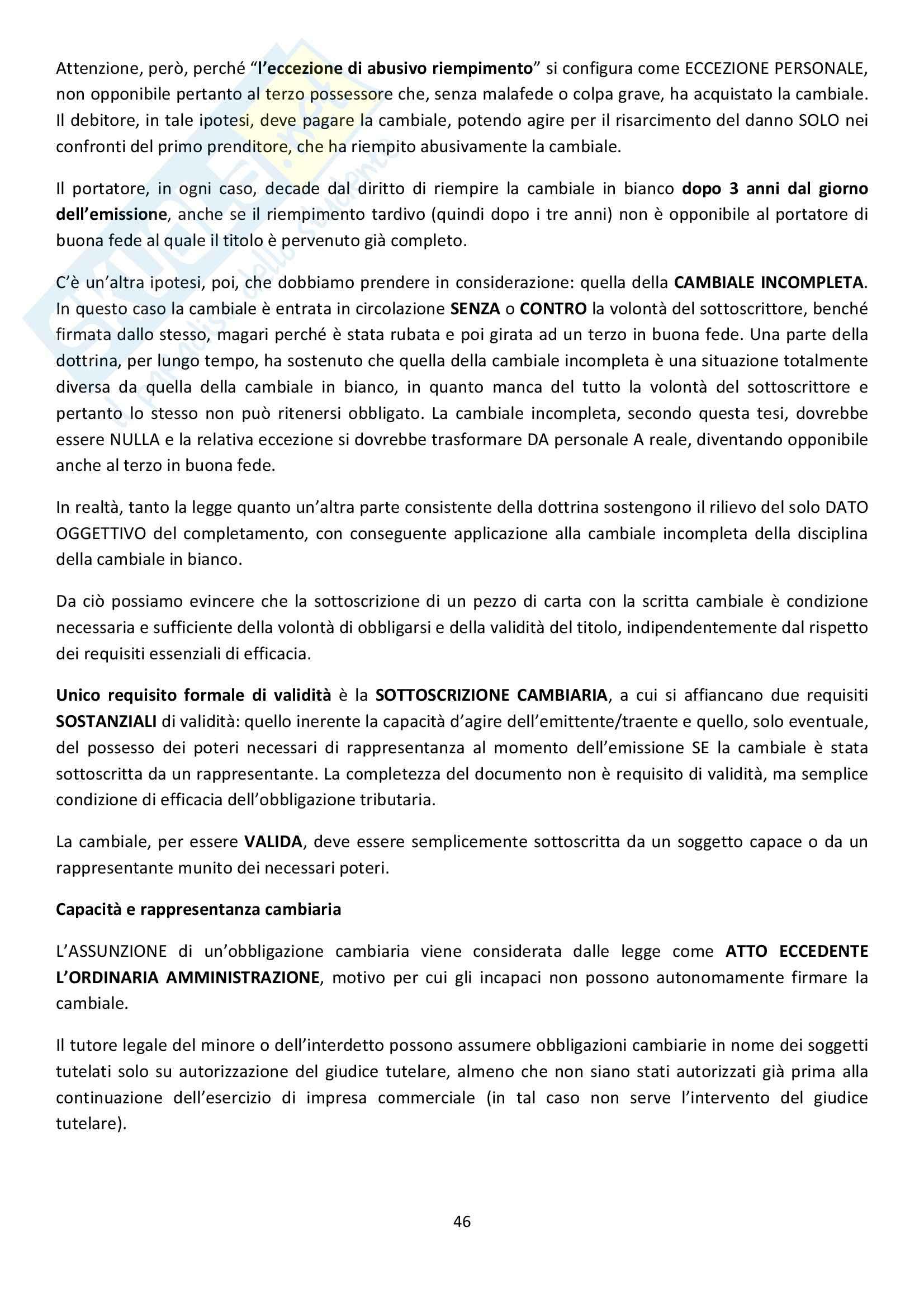 Riassunto esame Diritto Commerciale, prof. Griffi, libro consigliato Campobasso Pag. 46