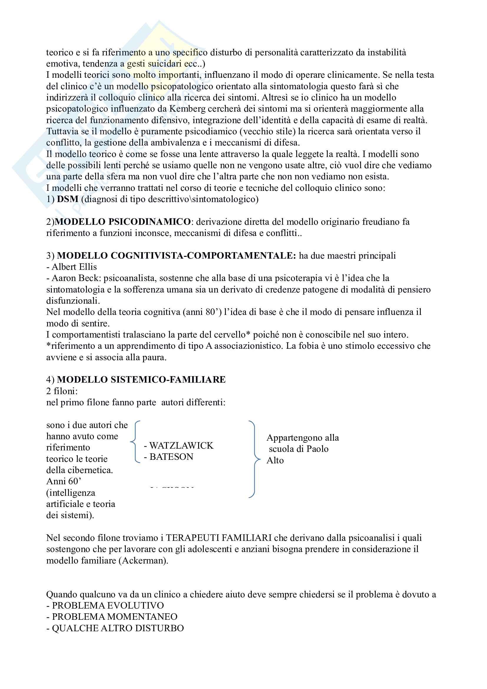 Appunti dell'esame di colloquio clinico Pag. 2