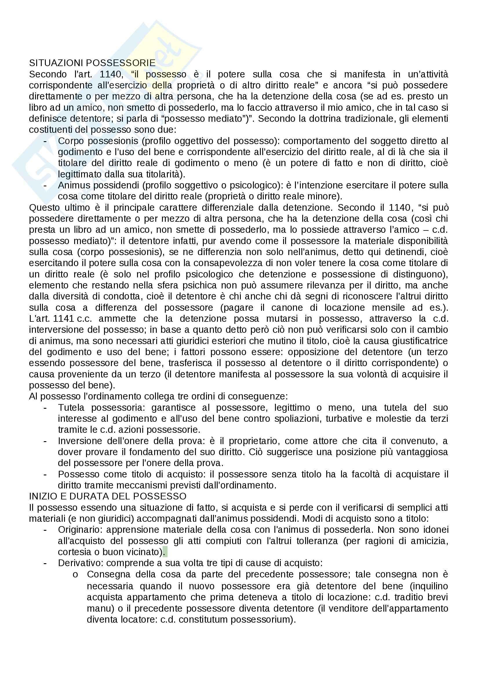 Diritto civile - situazioni possessorie