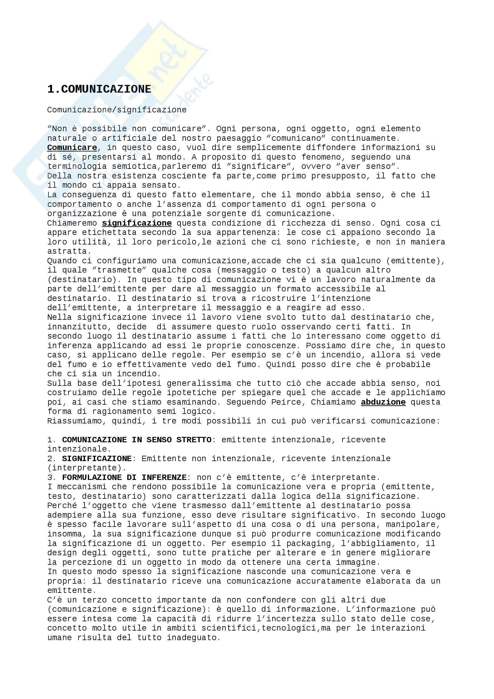 Riassunto esame Semiotica, prof. Volli, libro consigliato Manuale di semiotica, Volli
