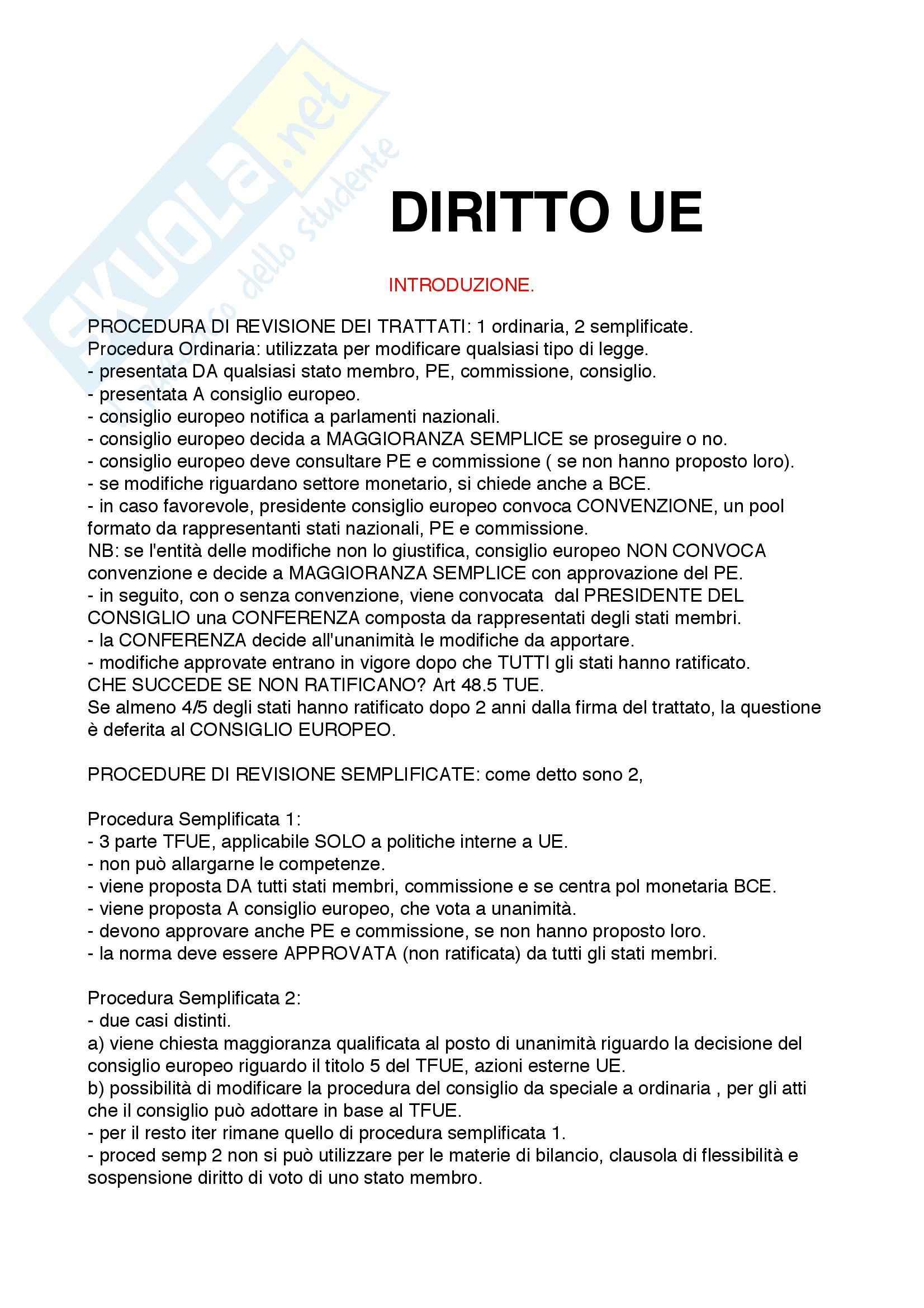 Riassunto esame Diritto dell'Unione Europea, prof. Rubino, libro consigliato Elementi di Diritto dell'Unione Europea, Draetta