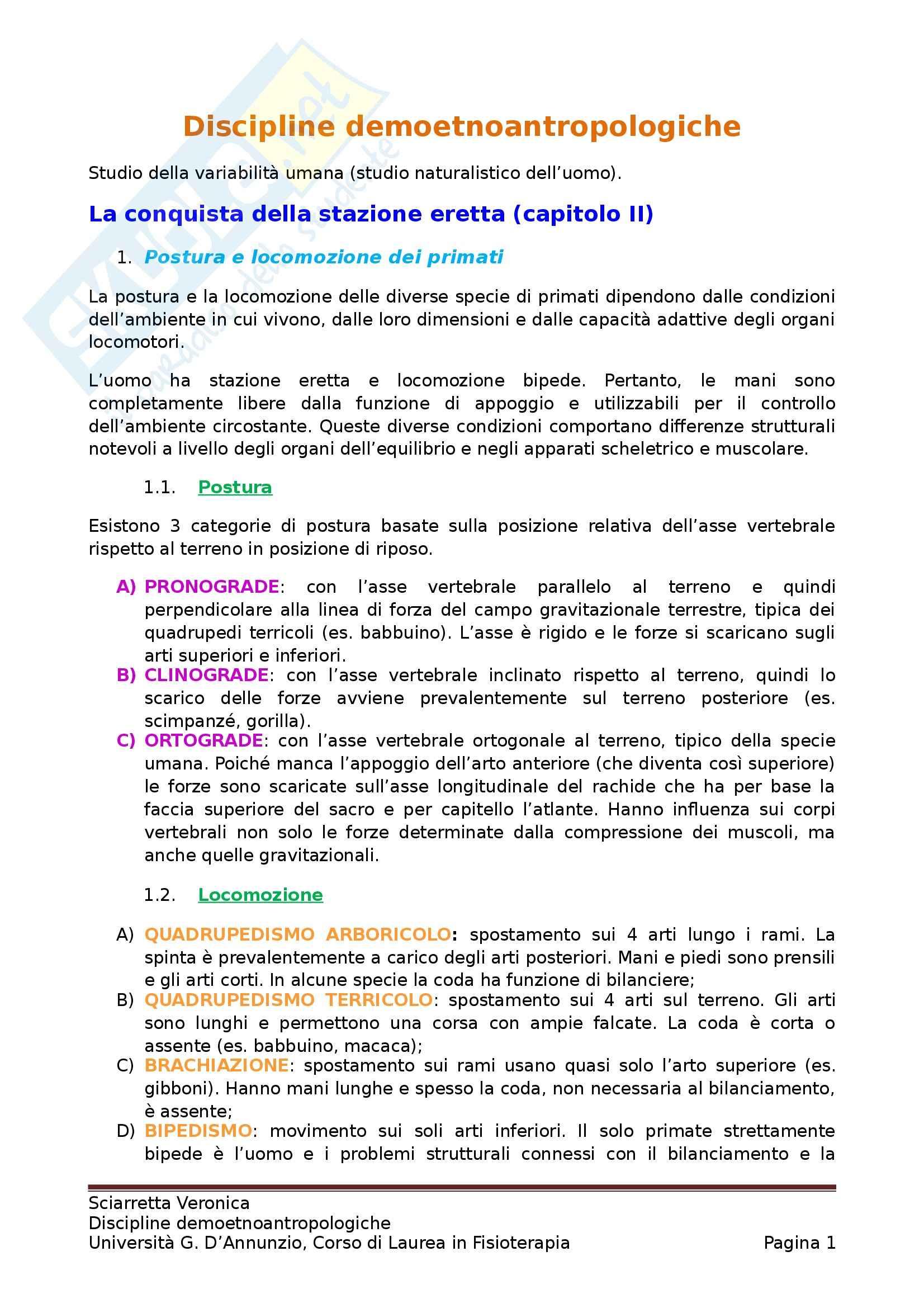 Riassunto esame Antropologia Culturale, prof. D'Anastasio, libro consigliato Lineamenti di Antropologia per le Scienze Motorie, Bigazzi