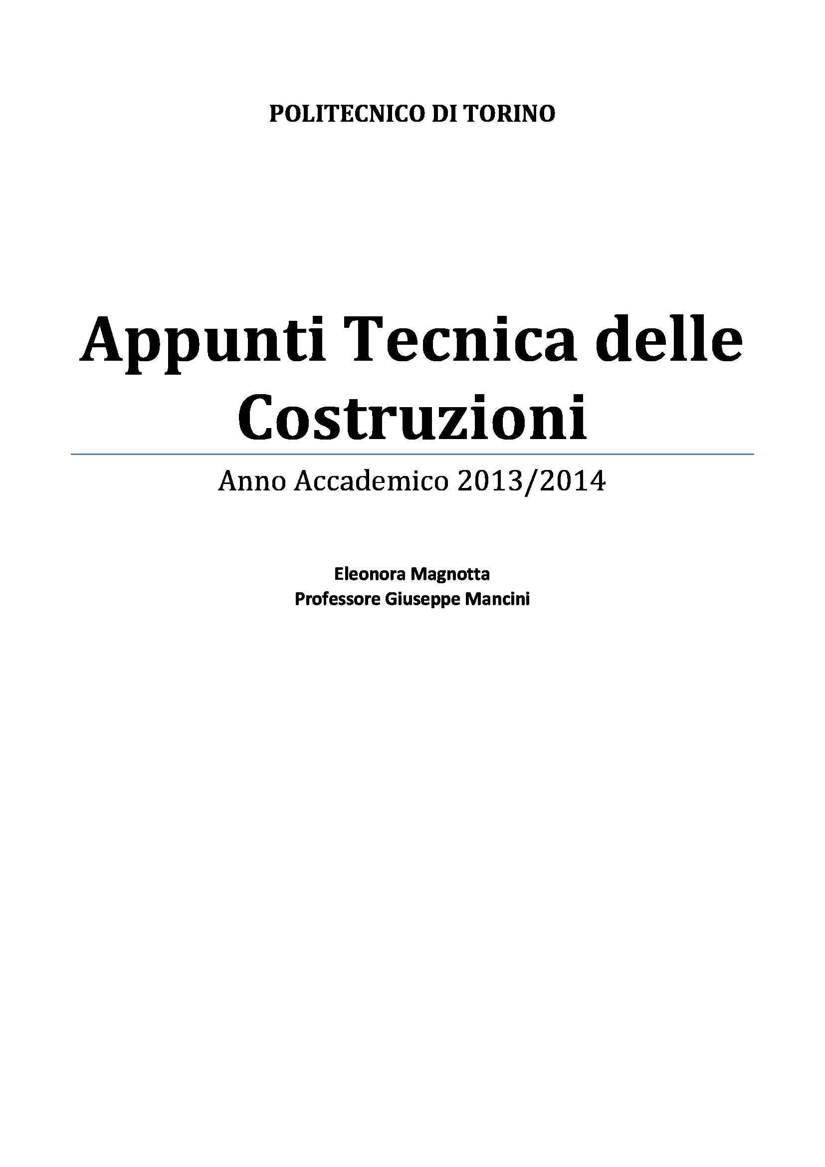 appunto G. Mancini Tecnica delle costruzioni