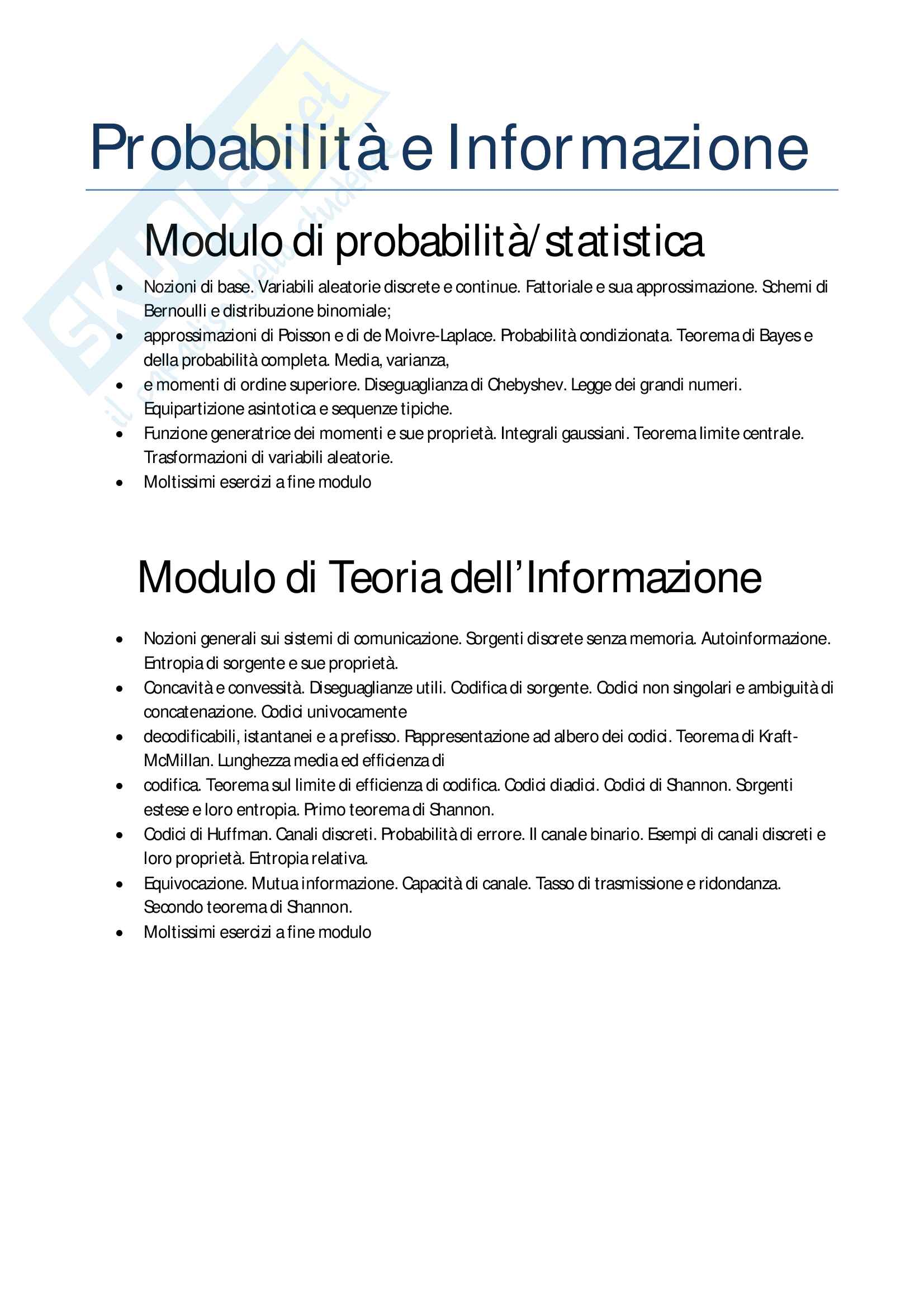 Probabilità e informazione, teoria, esercizi