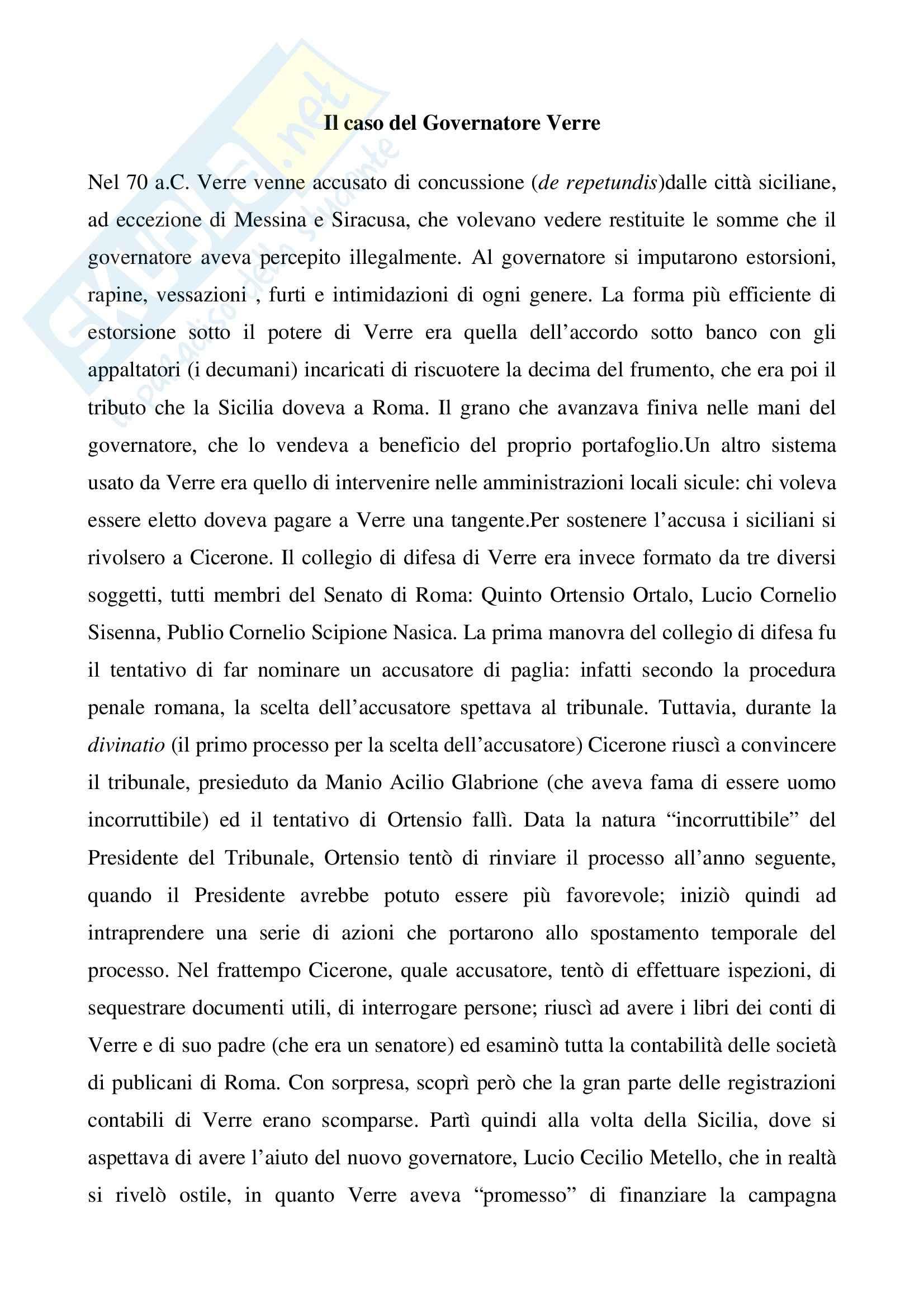 Processo a Verre, Storia romana