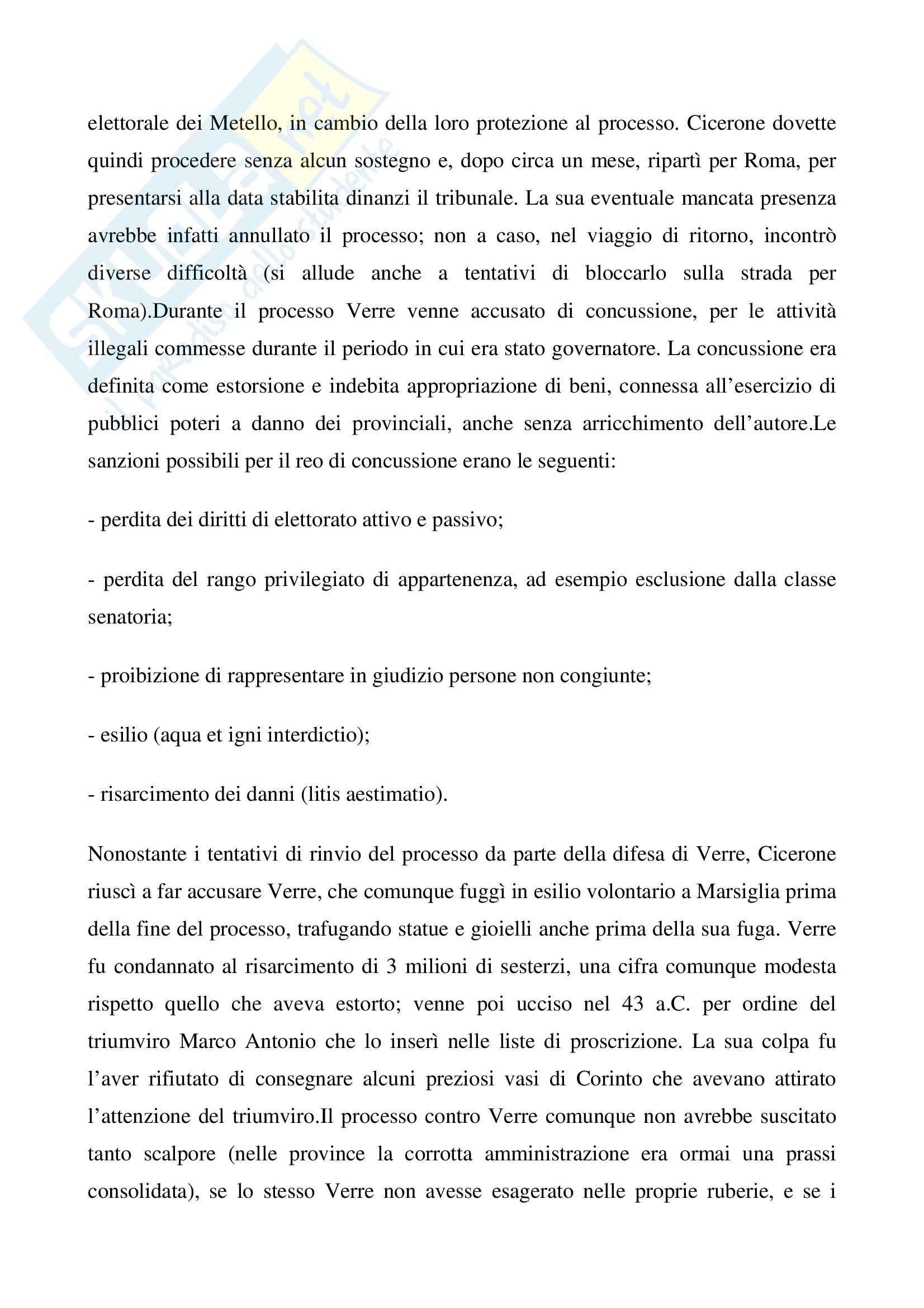 Processo a Verre, Storia romana Pag. 2