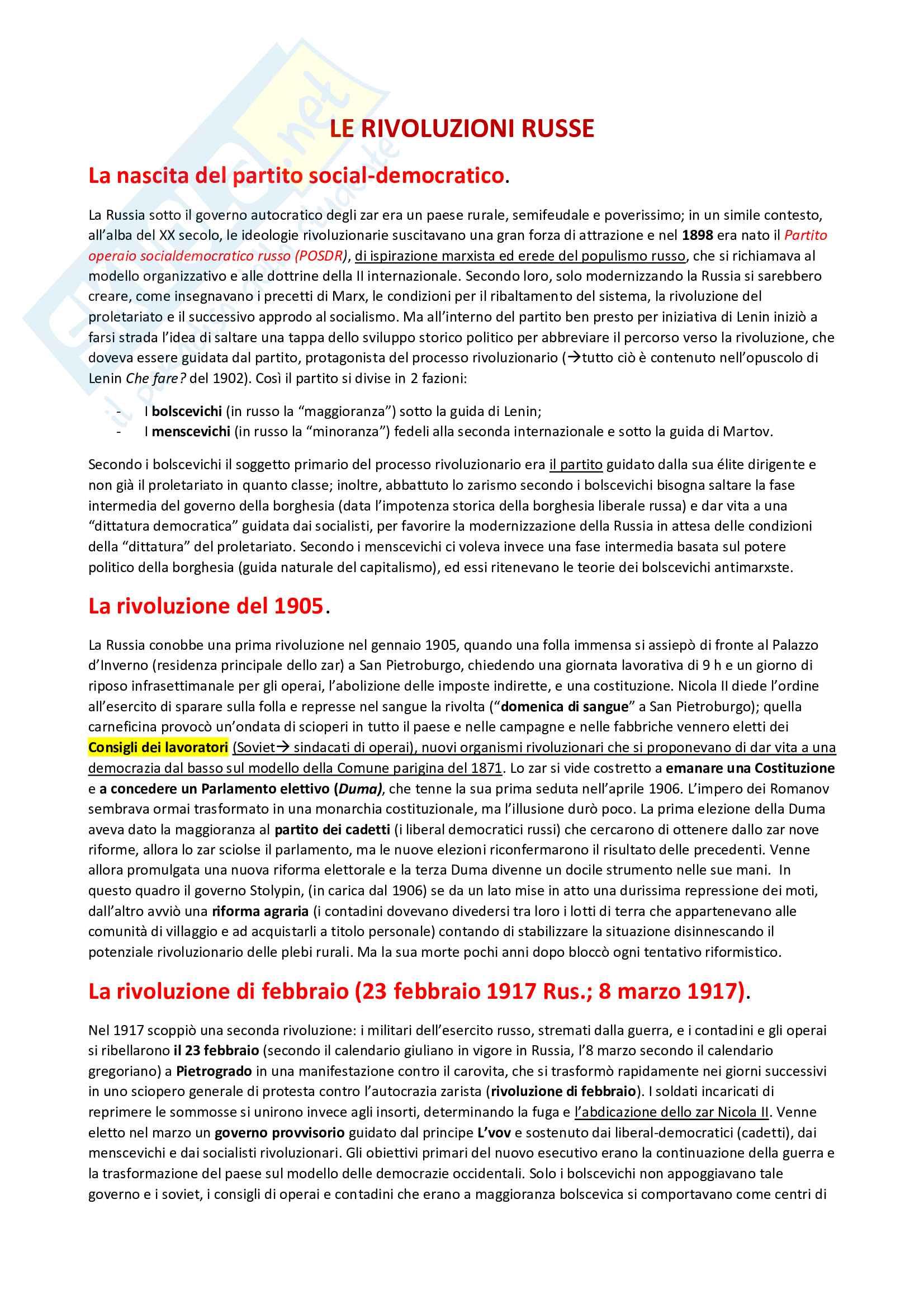 Riassunto Rivoluzione russa, Lenin, Stalin - storia contemporanea, sintesi