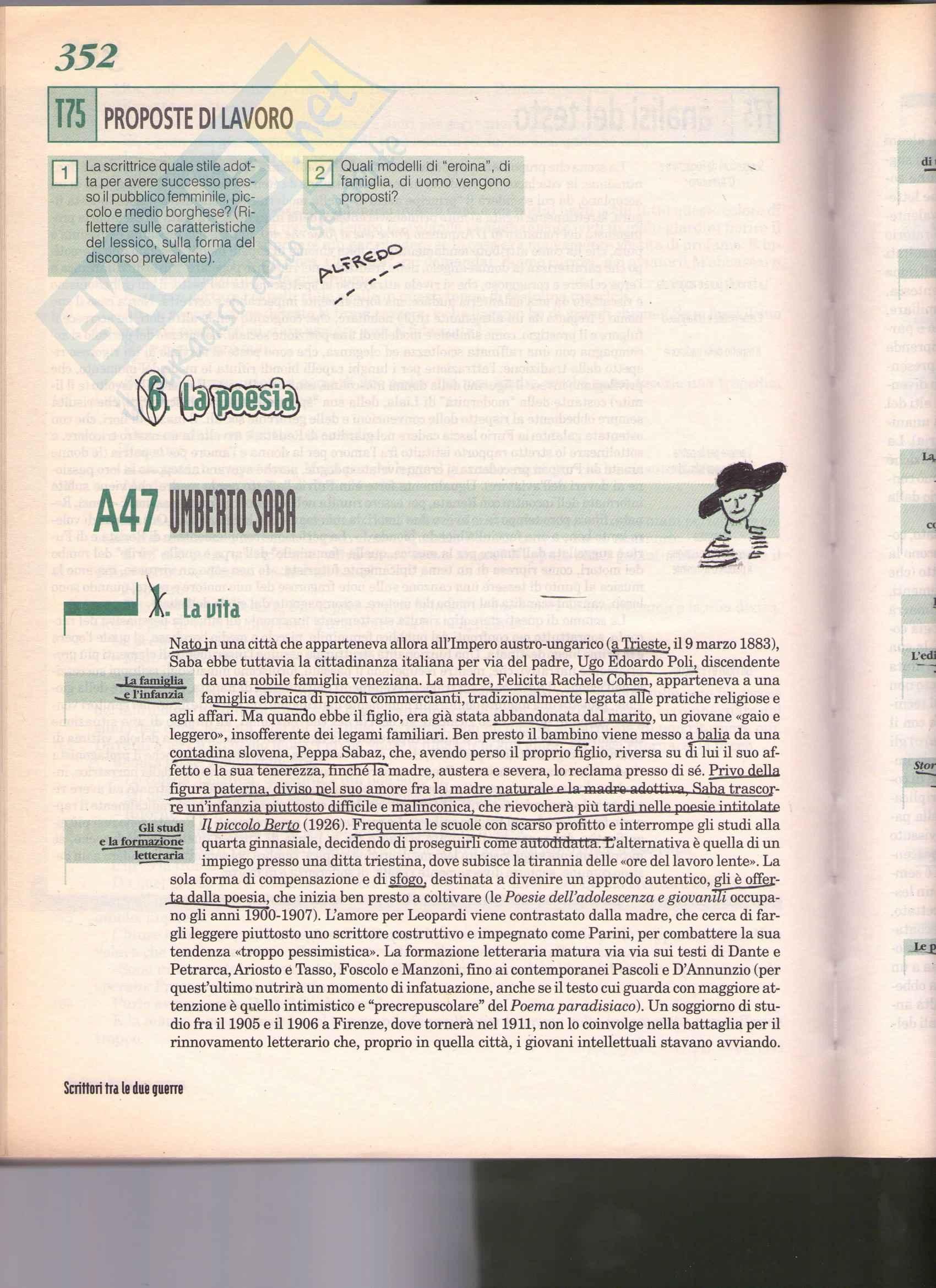 Letteratura italiana - Umberto Saba