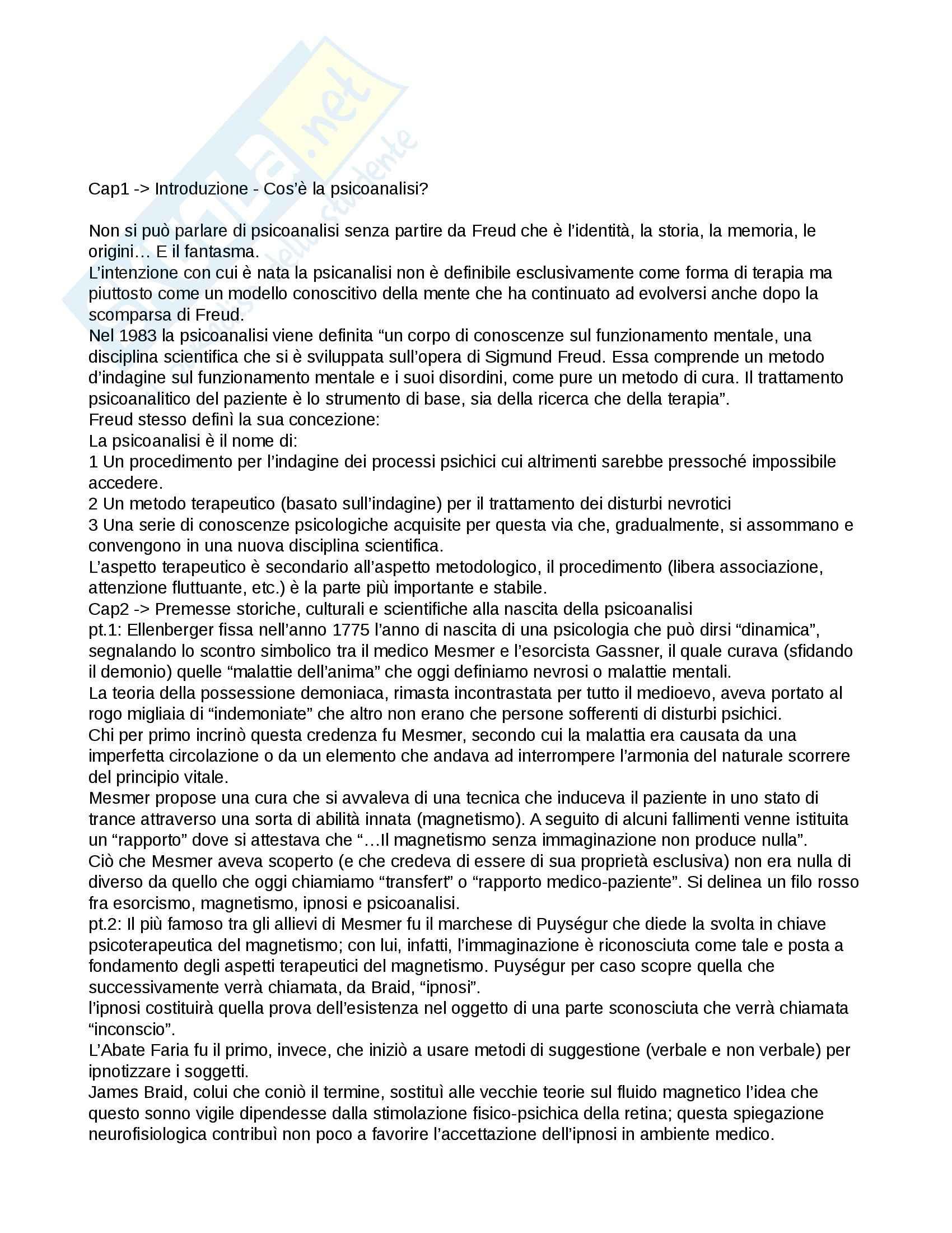 Riassunto esame Psicologia, prof. Lauro, libro consigliato Lezioni sul pensiero freudiano, Mangini