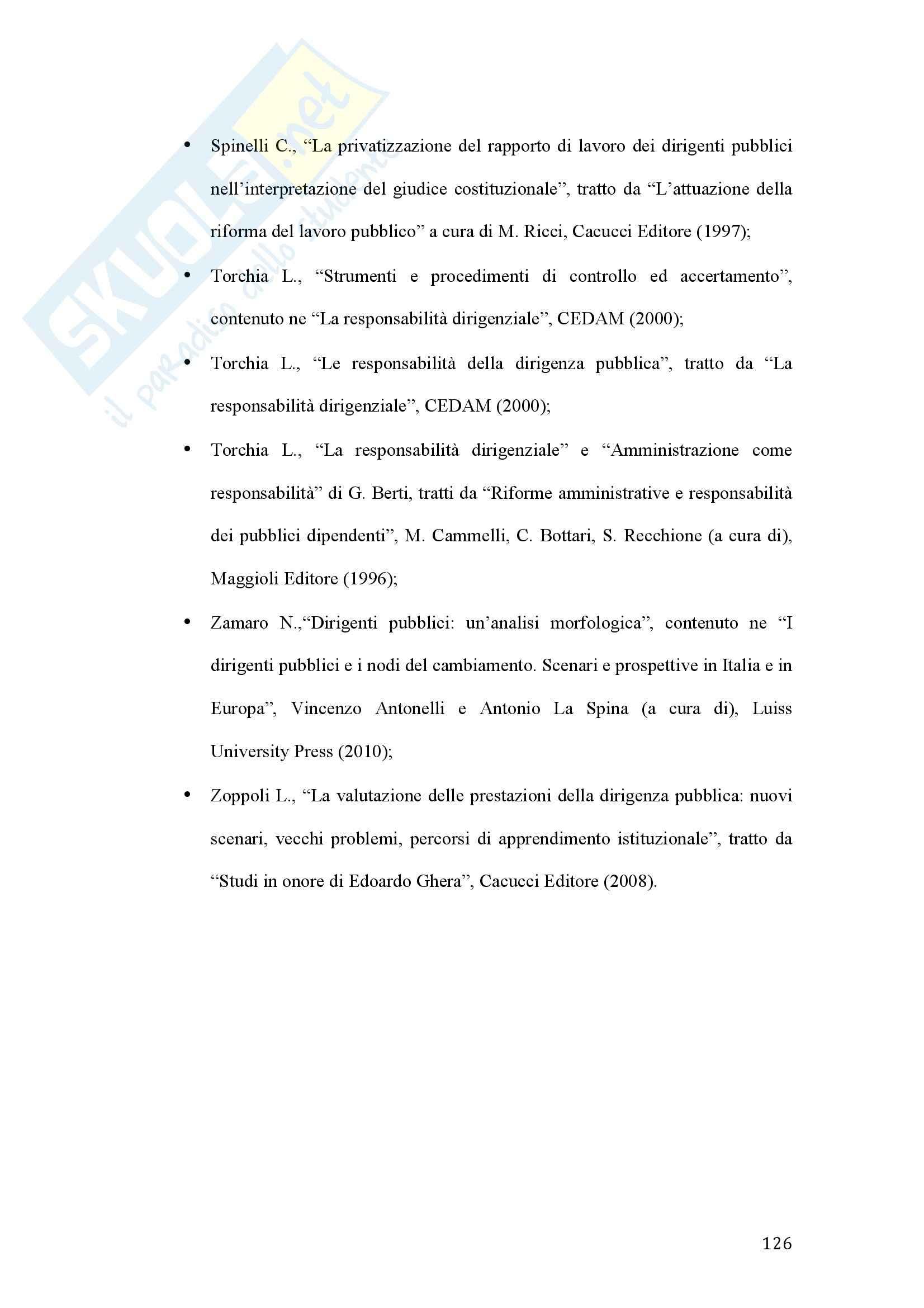 Tesi - La valutazione della dirigenza nelle pubbliche amministrazioni Pag. 126