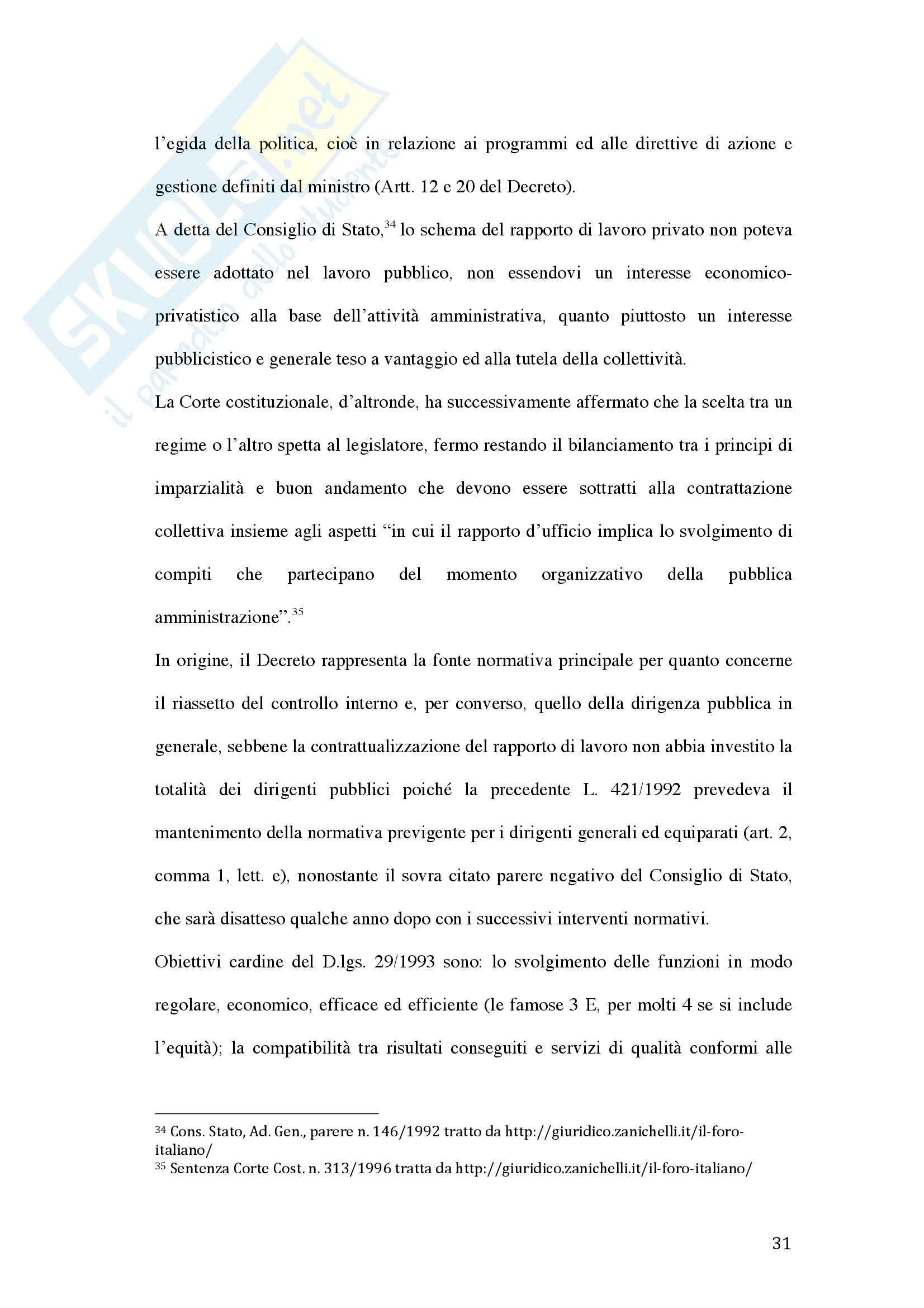 Tesi - La valutazione della dirigenza nelle pubbliche amministrazioni Pag. 31