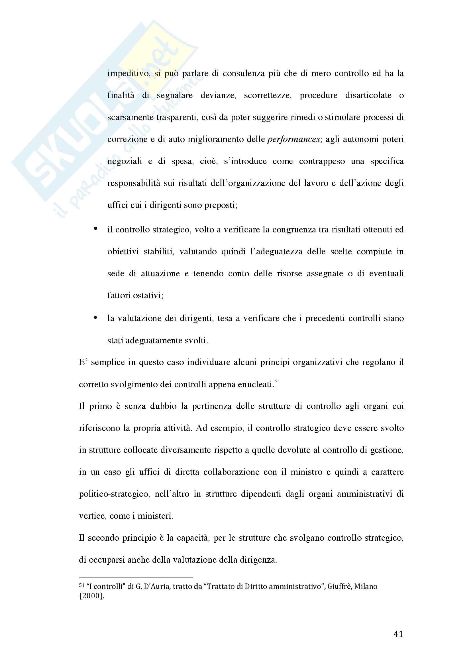 Tesi - La valutazione della dirigenza nelle pubbliche amministrazioni Pag. 41