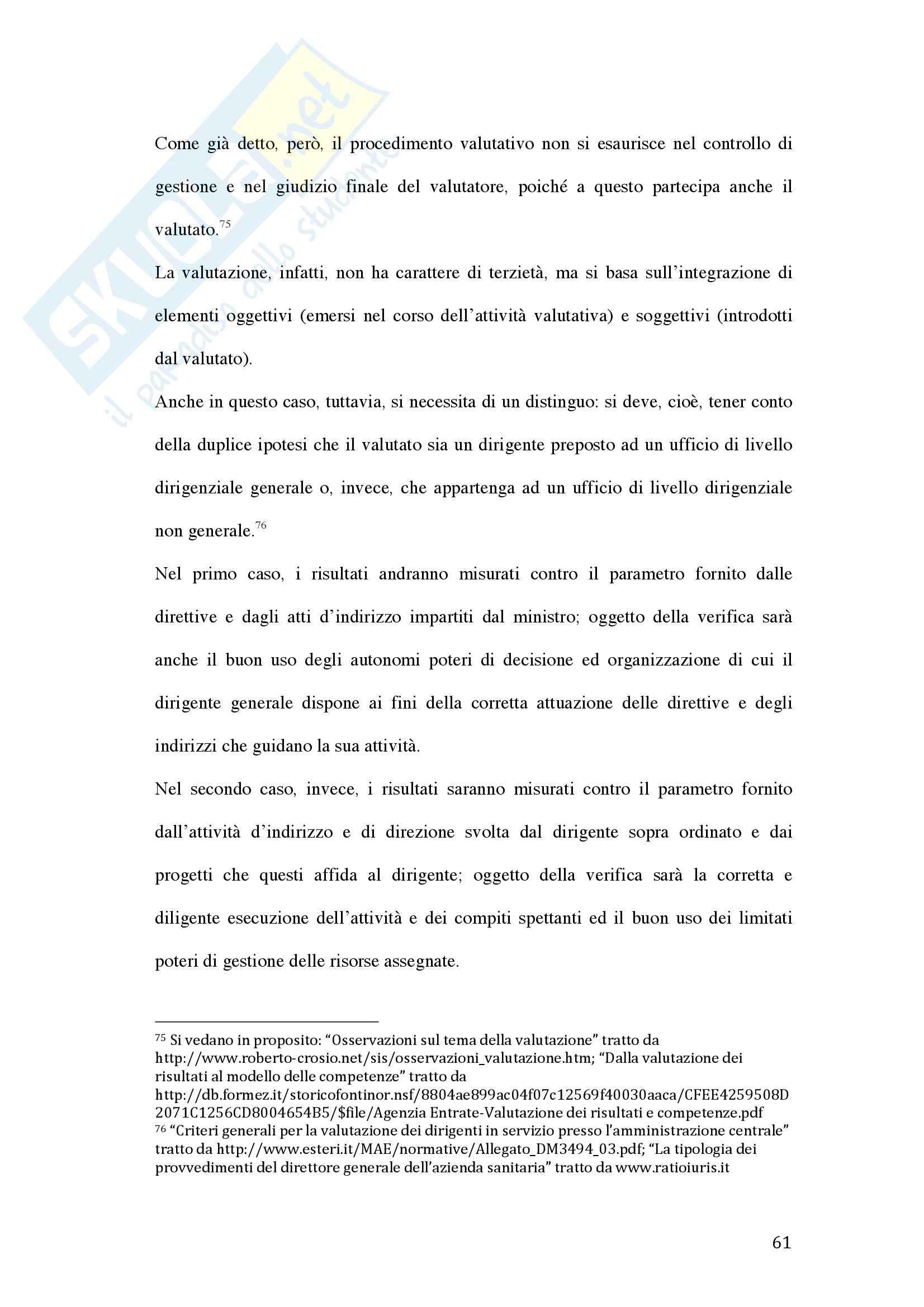Tesi - La valutazione della dirigenza nelle pubbliche amministrazioni Pag. 61