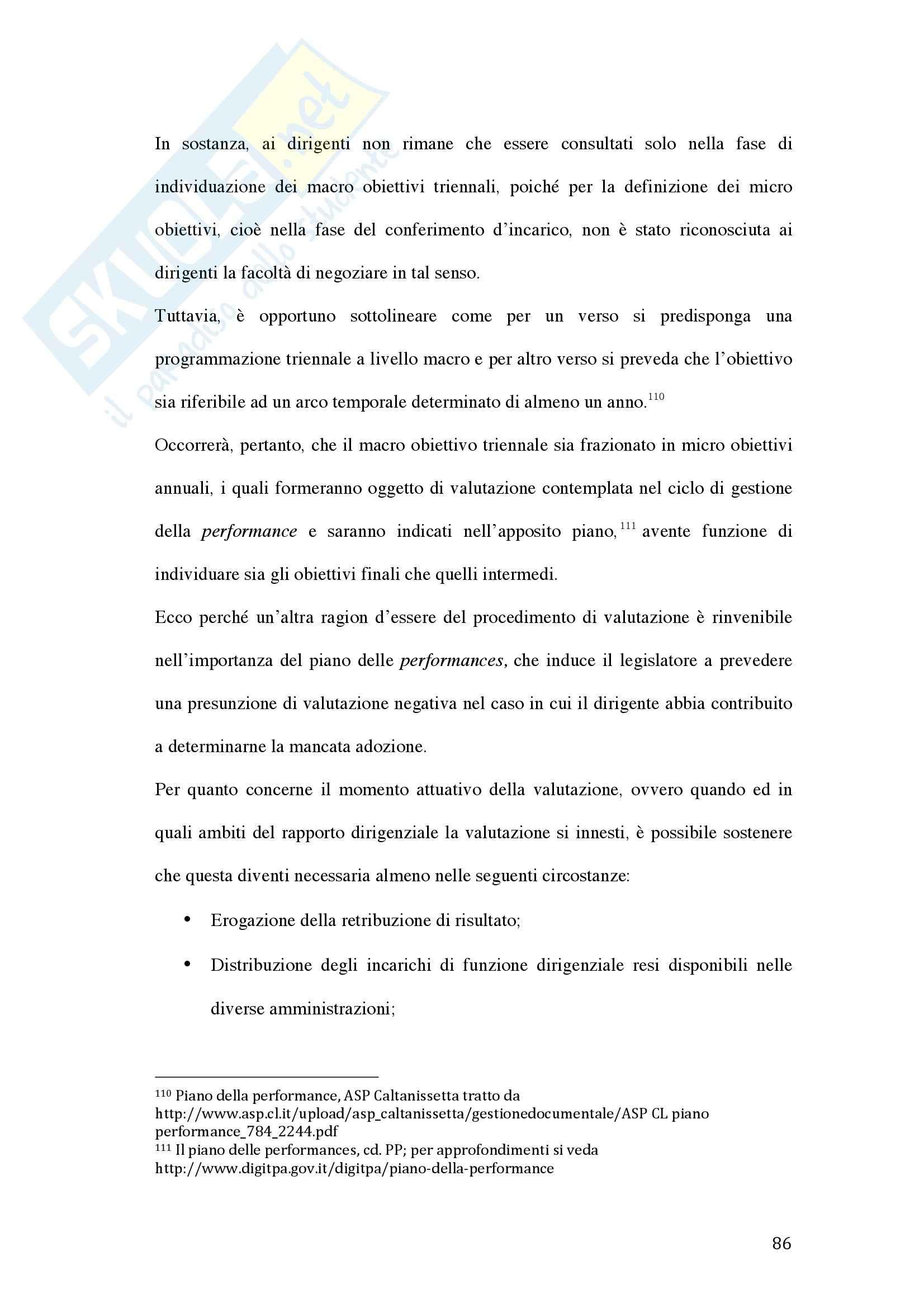 Tesi - La valutazione della dirigenza nelle pubbliche amministrazioni Pag. 86