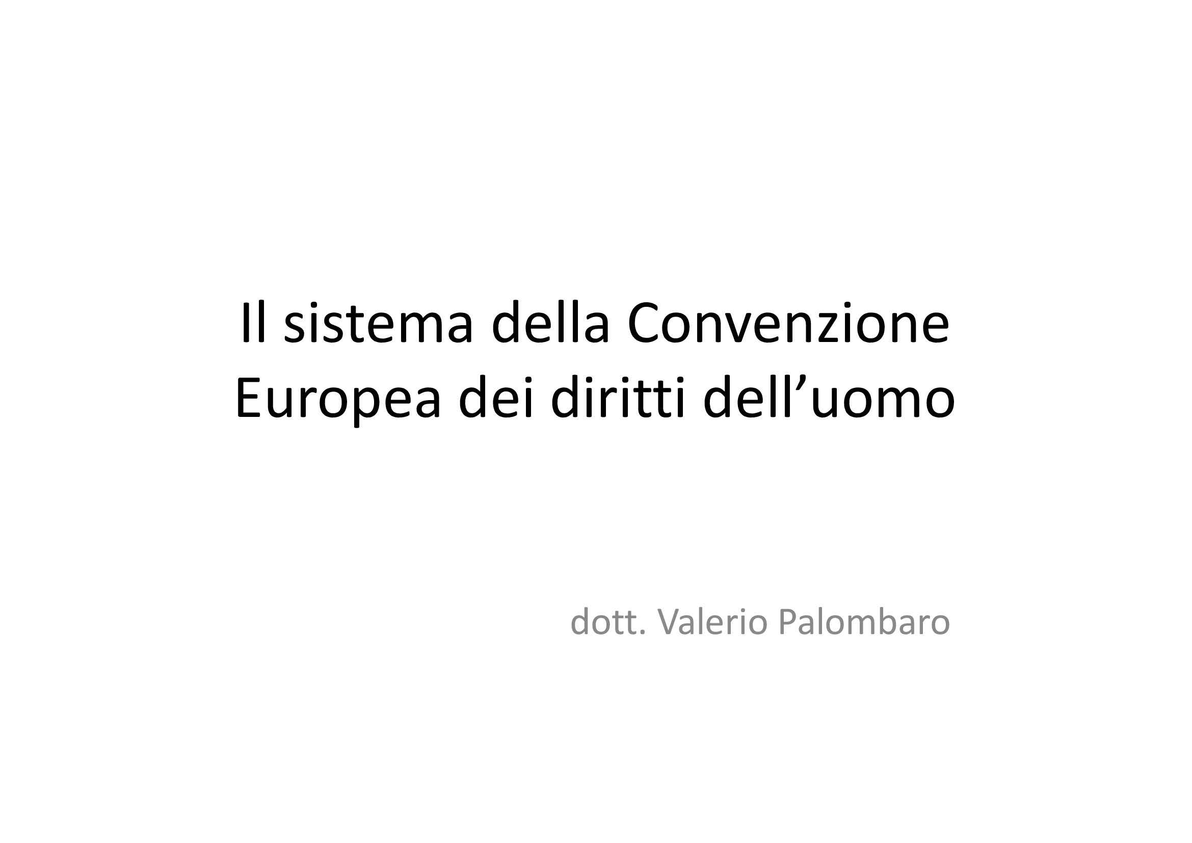 Sistema della Convenzione Europea dei diritti dell'uomo