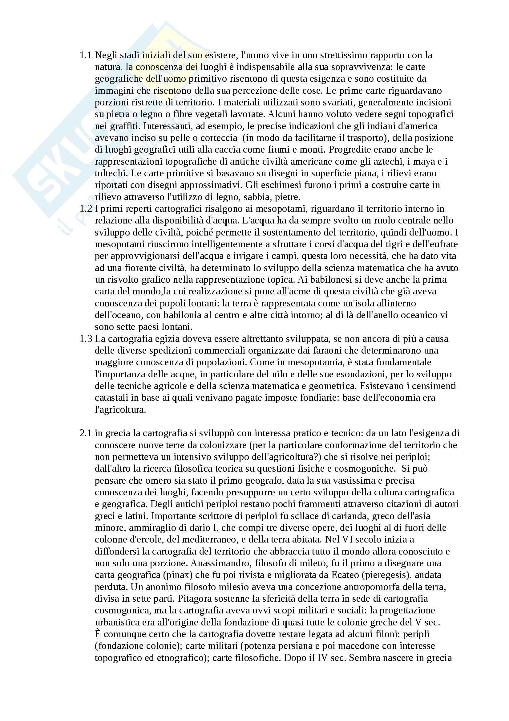 Riassunto esame Geografia, prof. Federzoni, libro consigliato Cartografia e Territorio nei Secoli, Palagiano, Asole