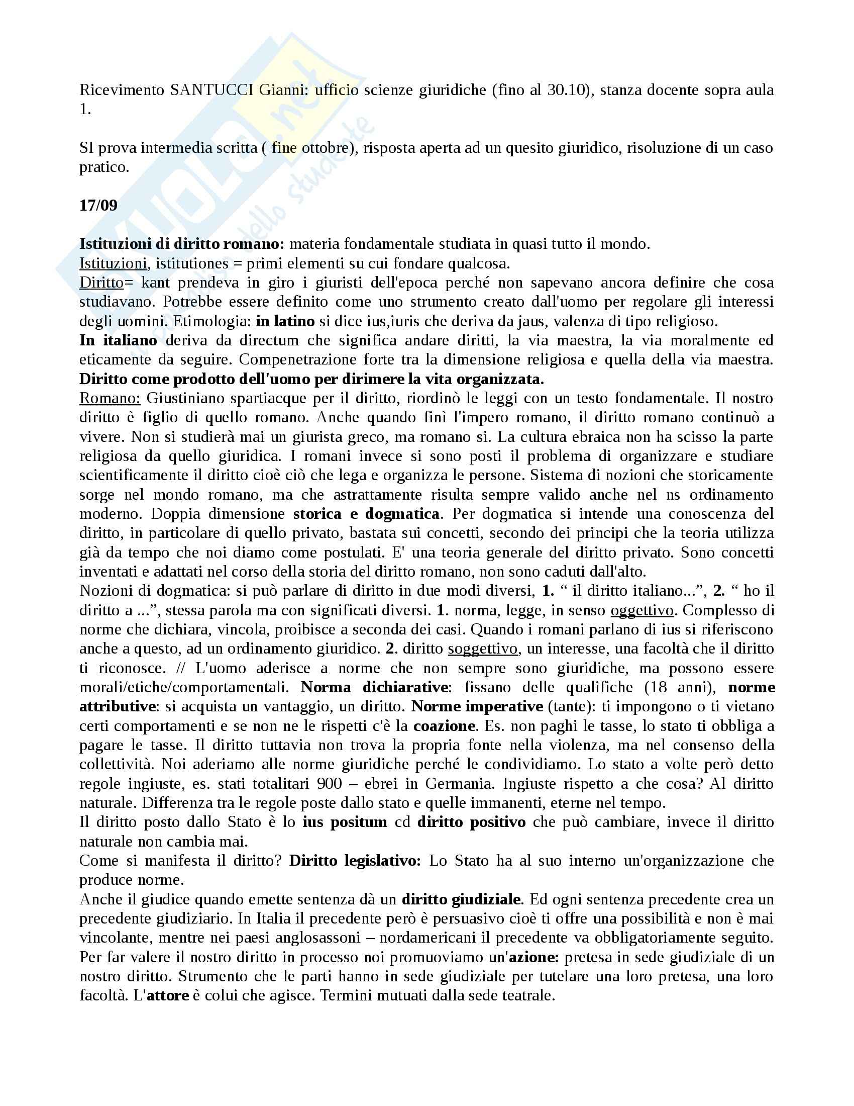 Istituzioni di diritto romano - nozioni e Appunti