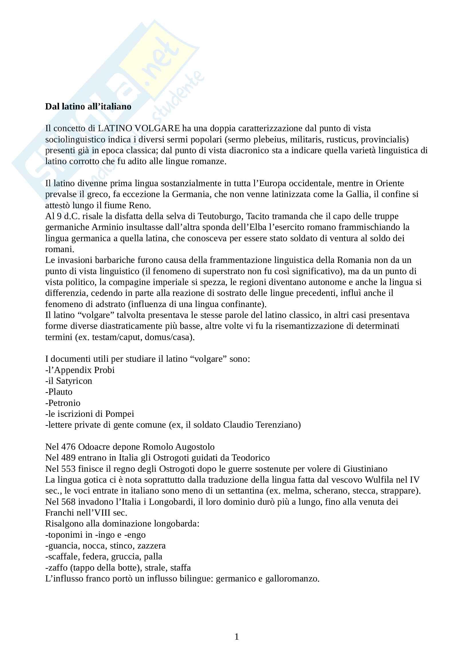 Riassunto esame Linguistica Italiana, prof. Franceschini, libro consigliato La Lingua Italiana: Profilo Storico, Marazzini Pag. 1