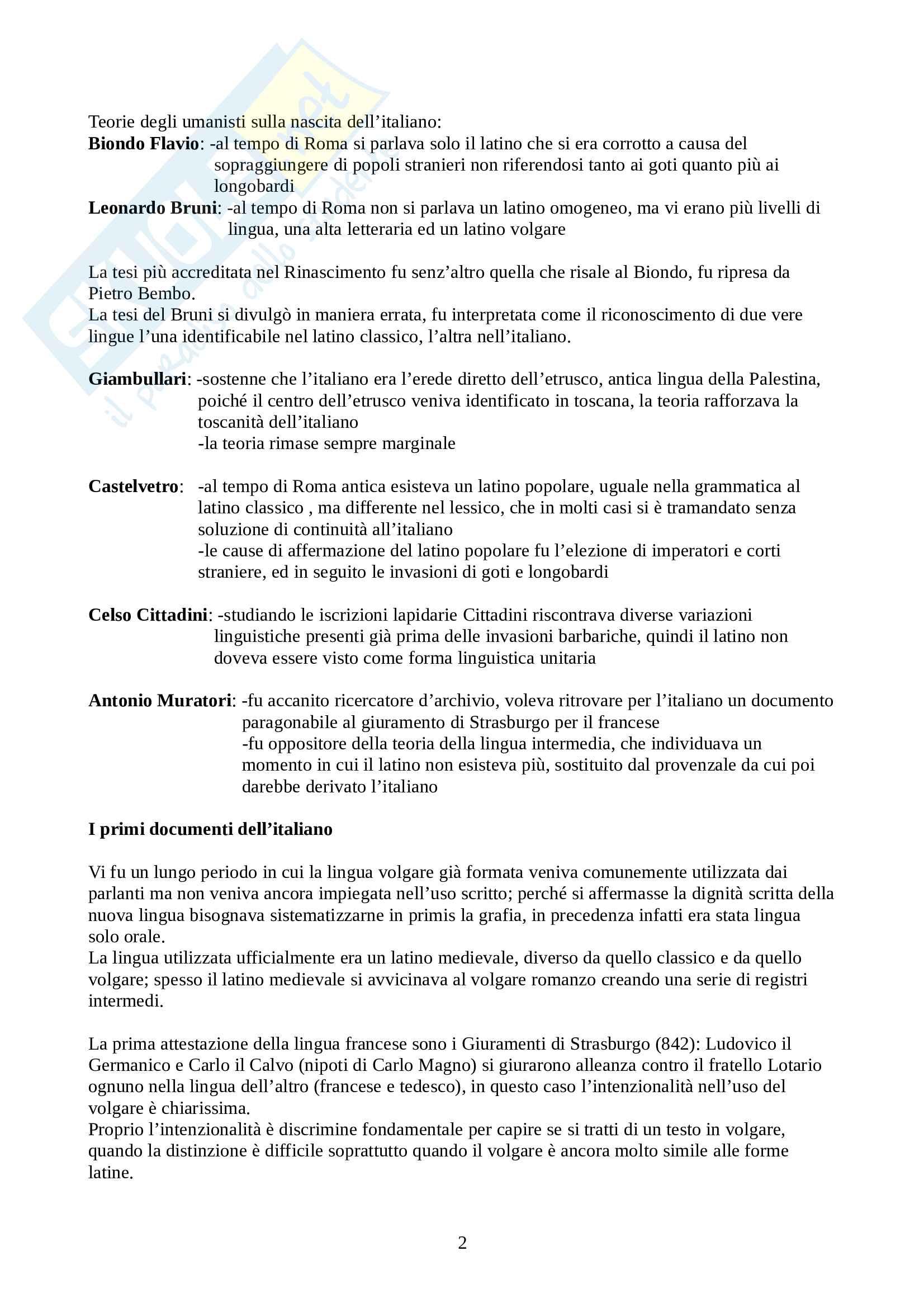 Riassunto esame Linguistica Italiana, prof. Franceschini, libro consigliato La Lingua Italiana: Profilo Storico, Marazzini Pag. 2