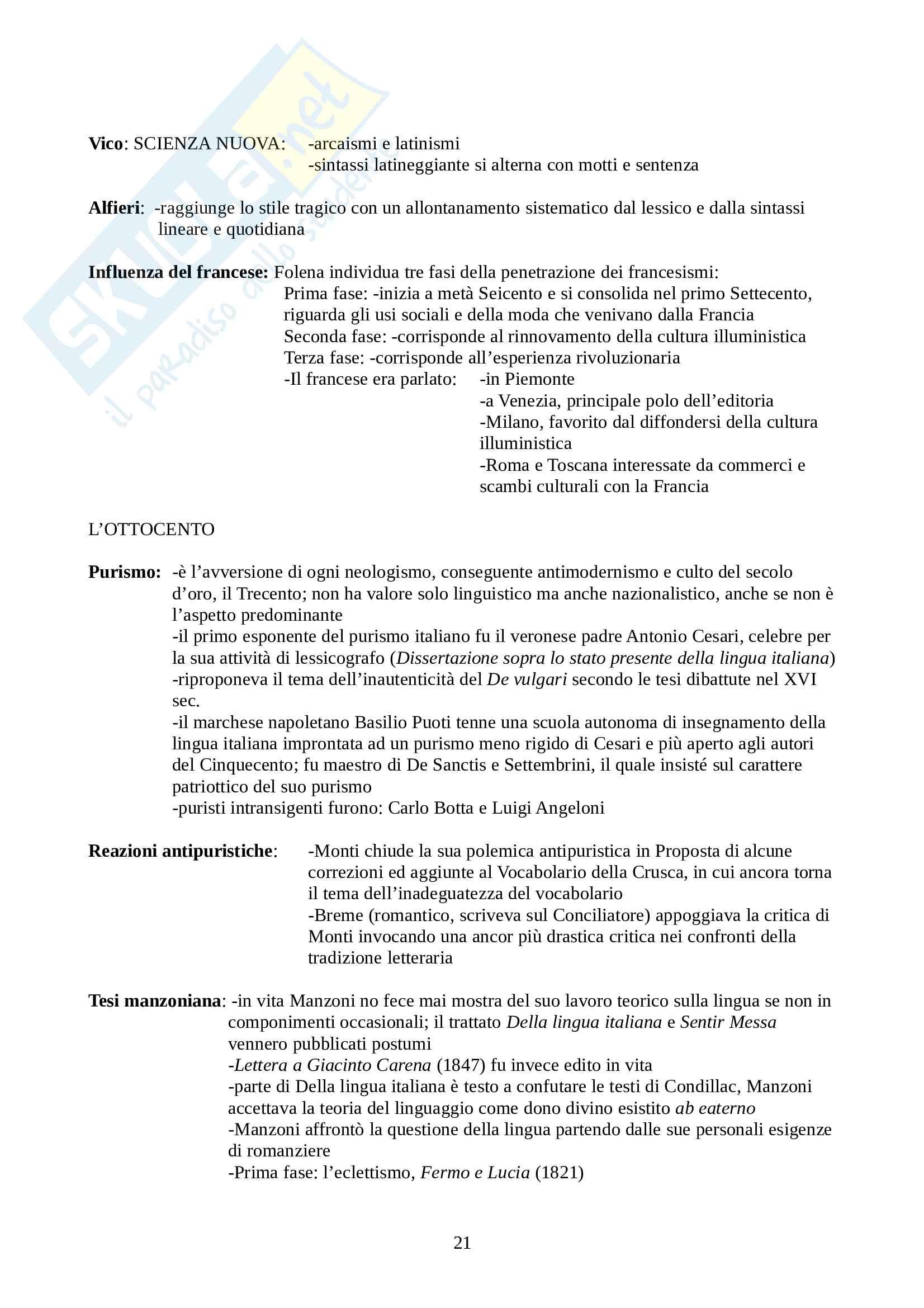 Riassunto esame Linguistica Italiana, prof. Franceschini, libro consigliato La Lingua Italiana: Profilo Storico, Marazzini Pag. 21