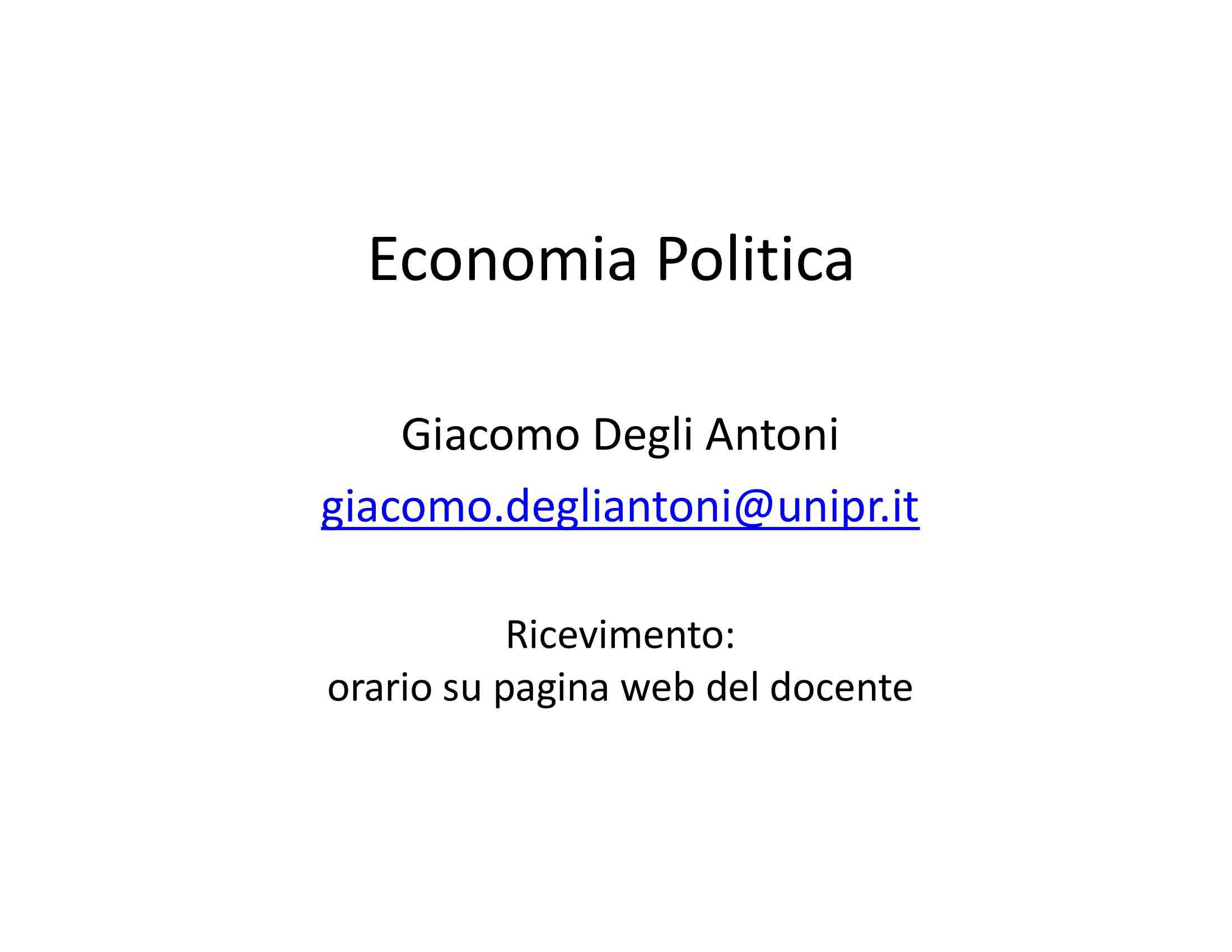 dispensa G. Degli Antoni Economia politica