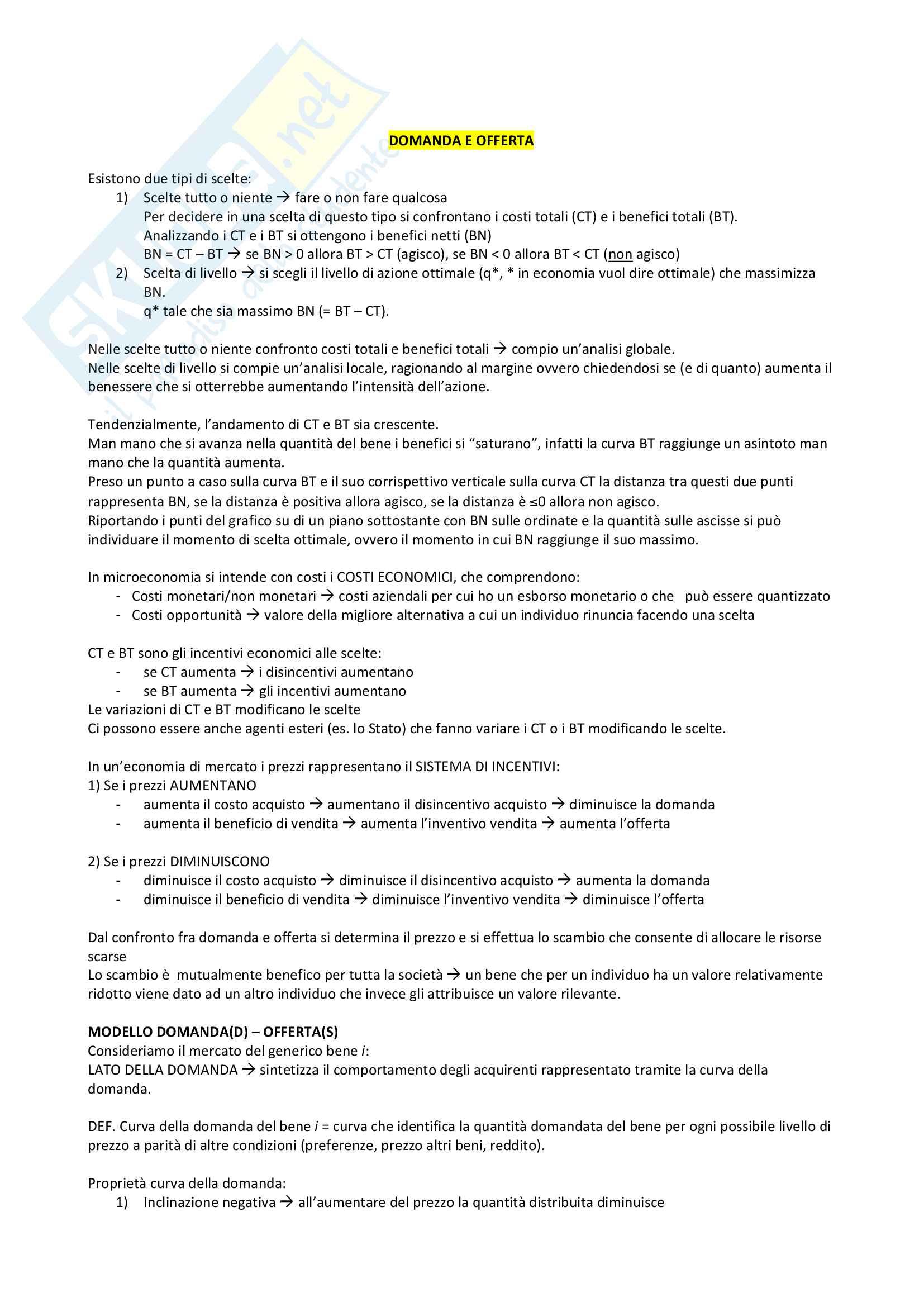 Microeconomia - Domanda e offerta