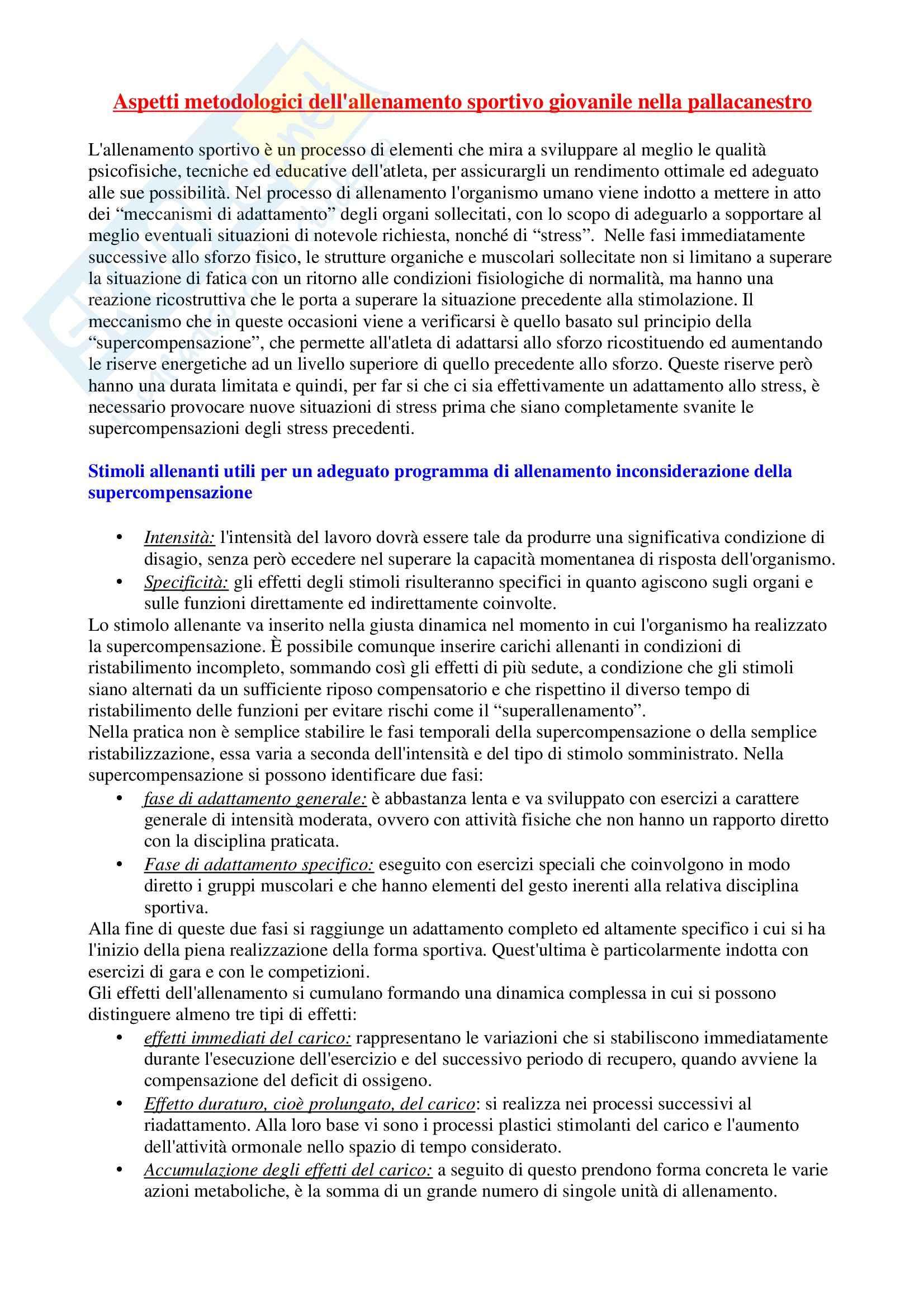 Riassunto esame Sport di squadra, prof. Izzo, libro consigliato La costruzione dell'allenamento nella pallacanestro Pag. 2