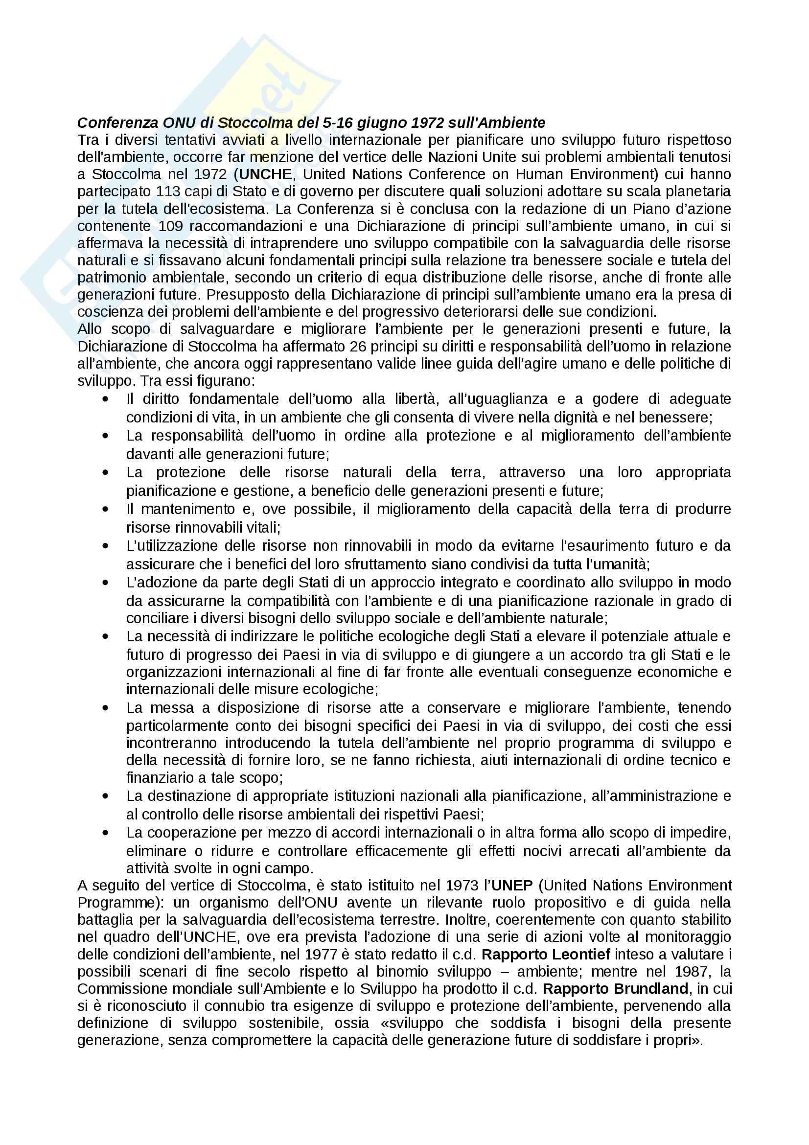 Diritto internazionale dell'ambiente Pag. 2