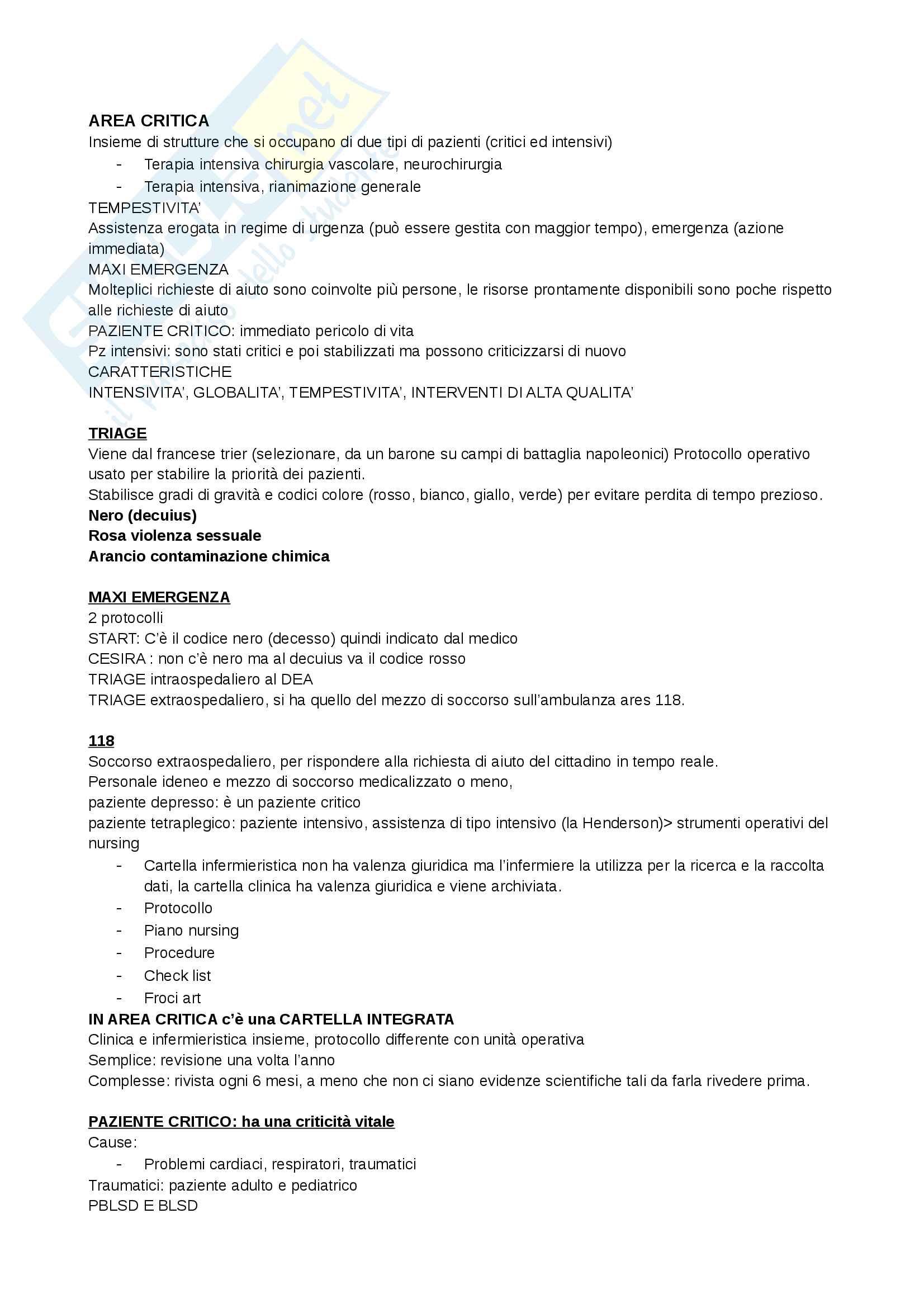 appunto P. Mariani Infermieristica clinica in area critica