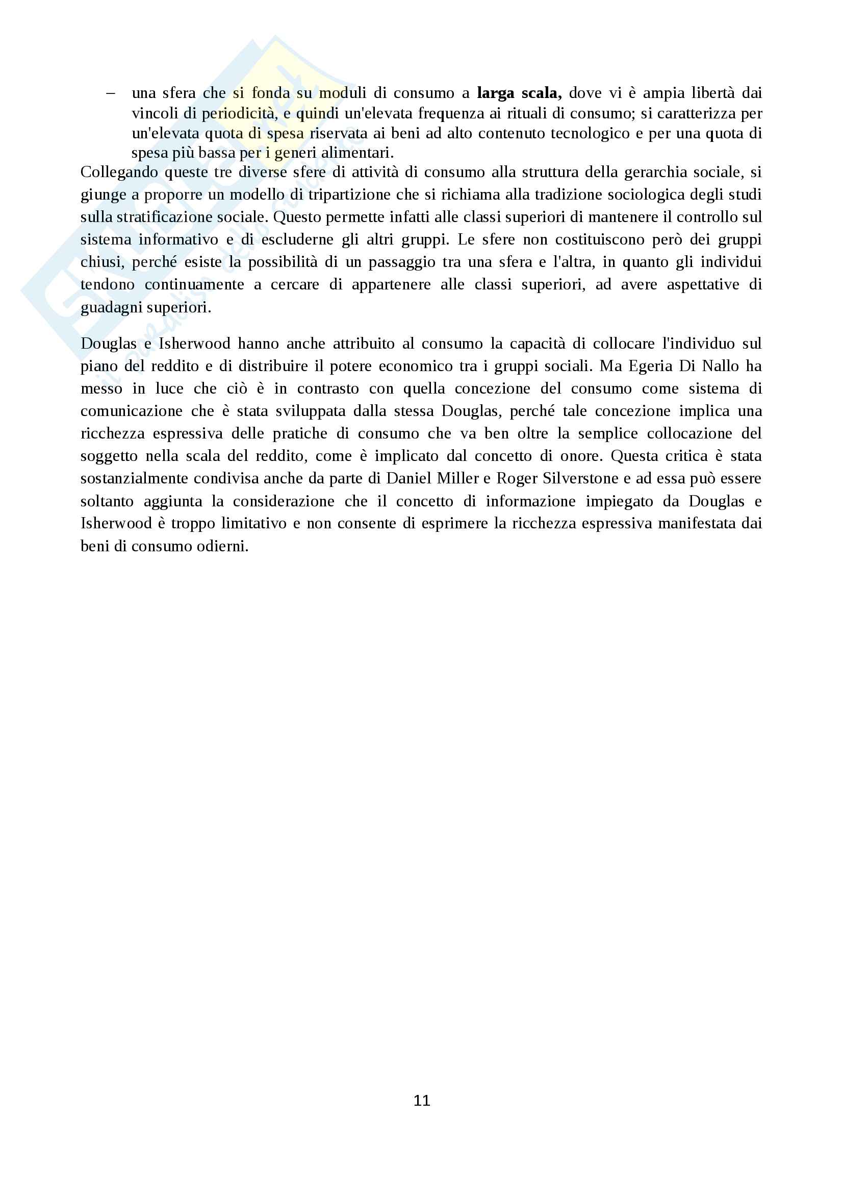 Appunti di sociologia dei consumi con particolare riferimento a Ritzer, Bauman e Douglas Pag. 11