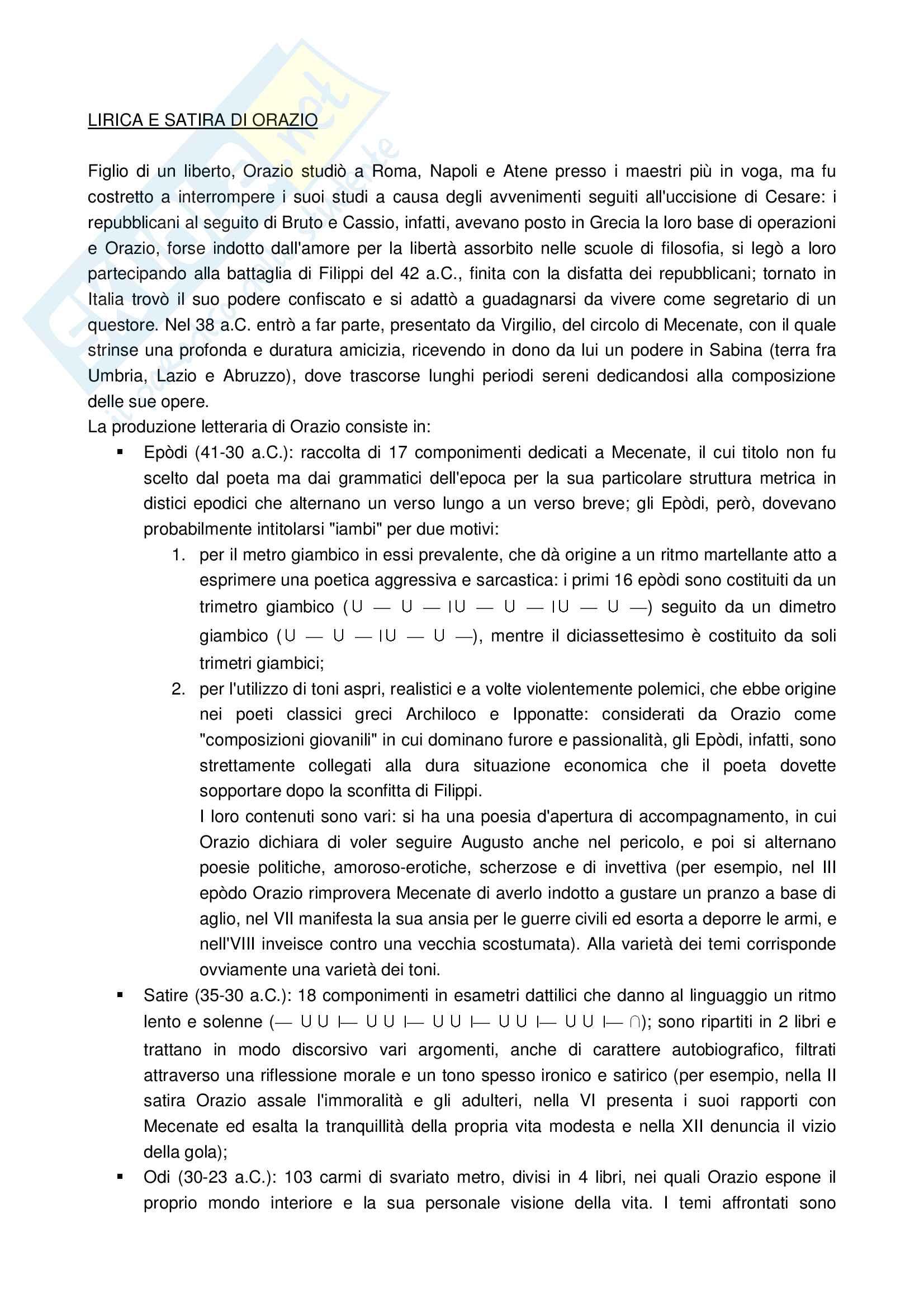 Letteratura latina l'età augustea Pag. 6